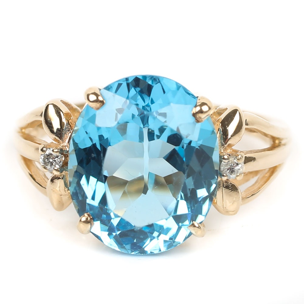 10K Yellow Gold 5.54 CT Blue Topaz and Diamond Ring