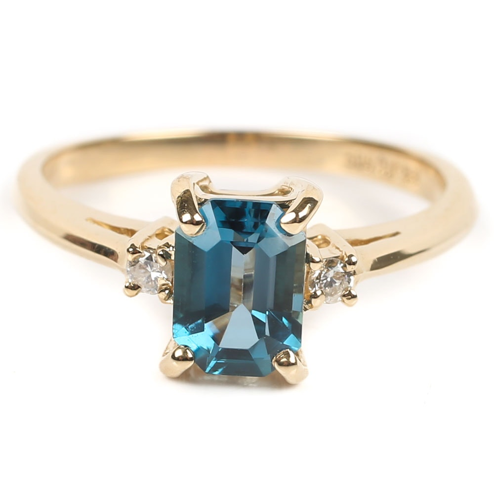 14K Yellow Gold 1.28 CT Blue Topaz and Diamond Ring