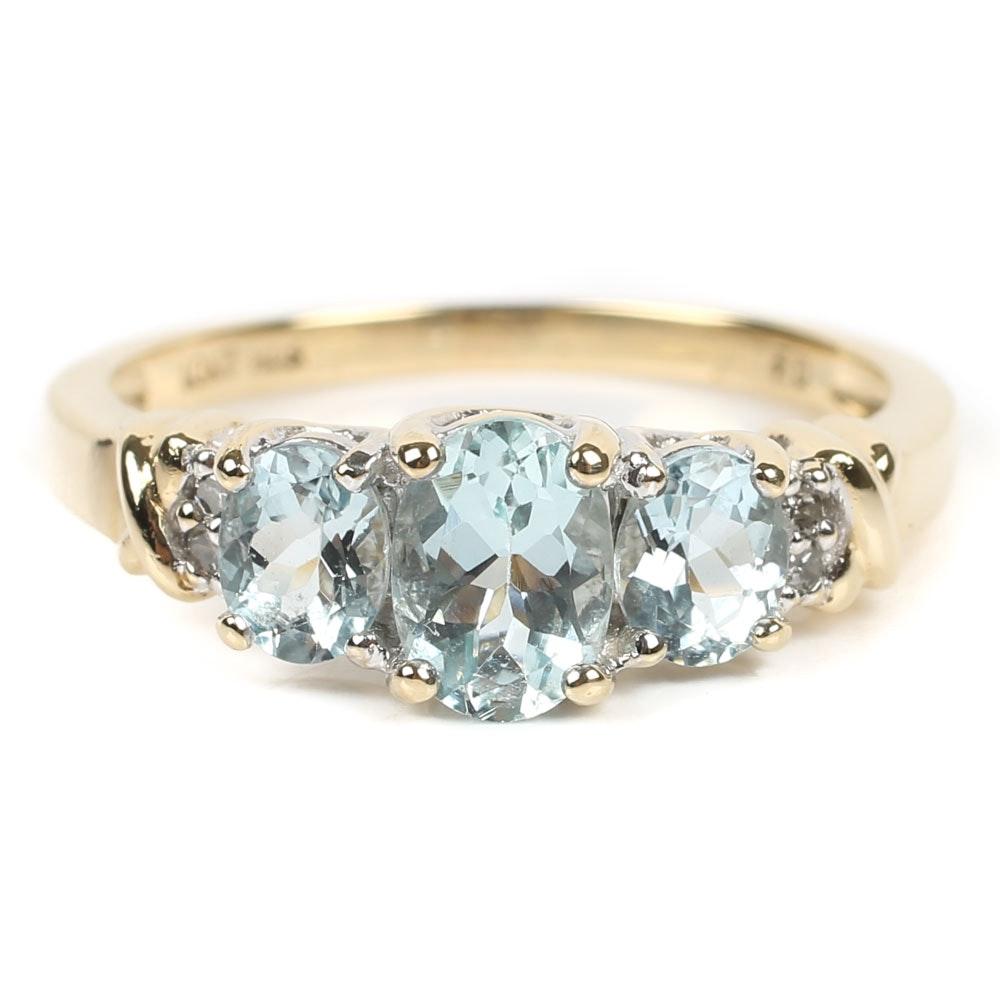 10K Yellow Gold 1.35 CTW Aquamarine and Diamond Ring