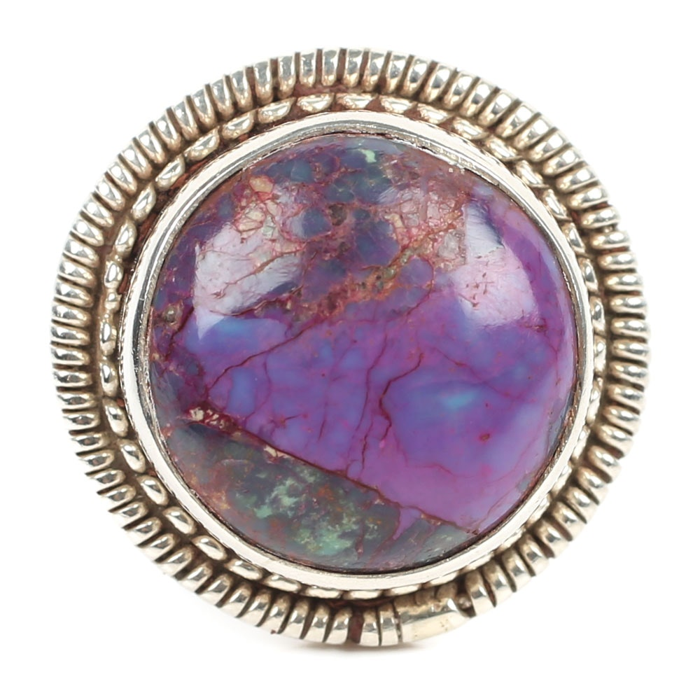 Sterling Silver Dyed Purple Turquoise Ring
