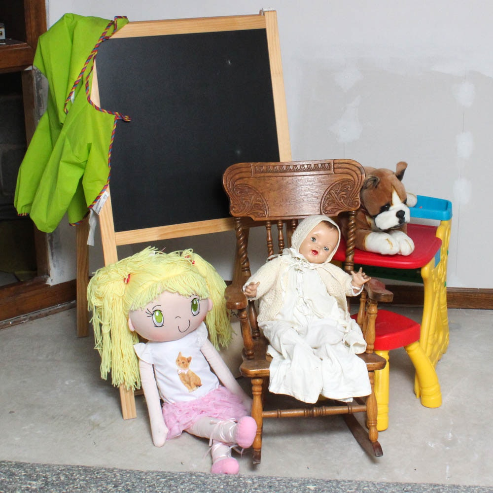 Children's Wooden Rocking Chair, Easel, Play Desk, Stuffed Animal and Dolls