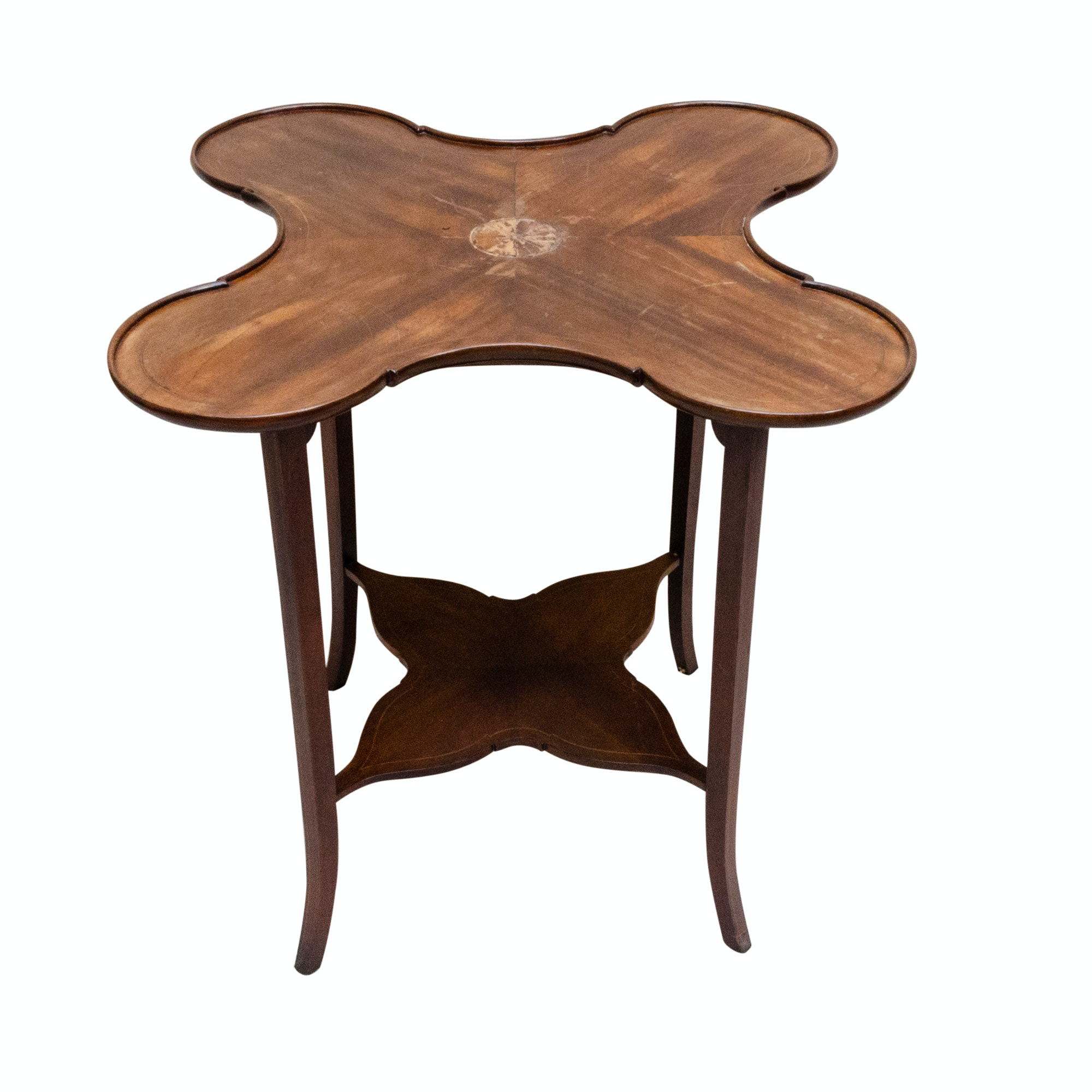 George III Style Mahogany and Marquetry Side Table, Mid-20th Century