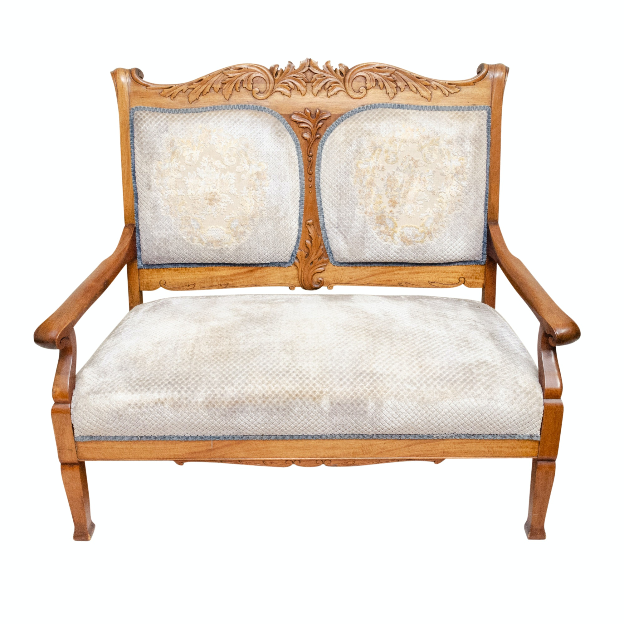 Victorian Style Carved Mahogany Settee, Late 19th Century