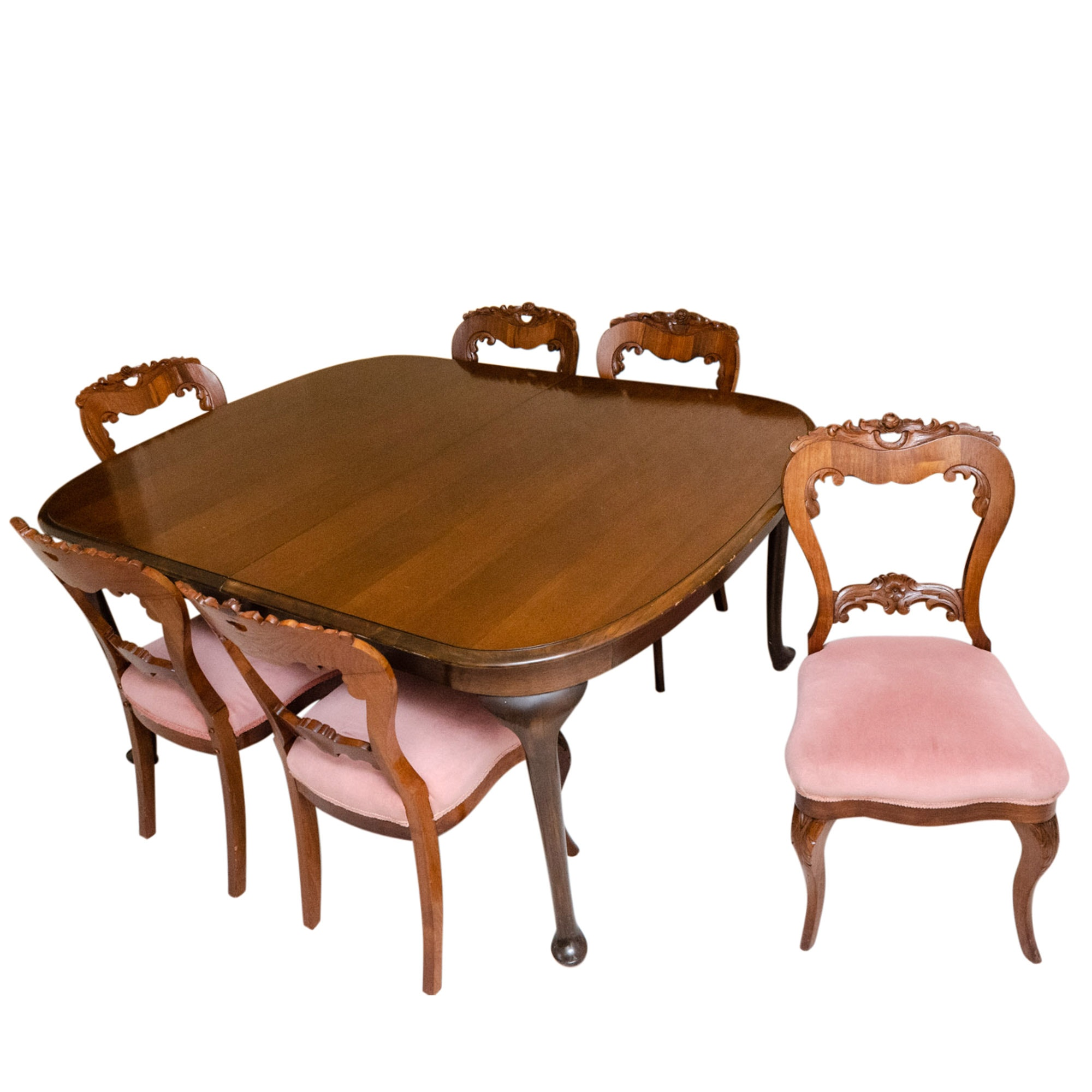 Queen Anne Style Cherrywood Dining Table and 19th Century Carved Walnut Chairs