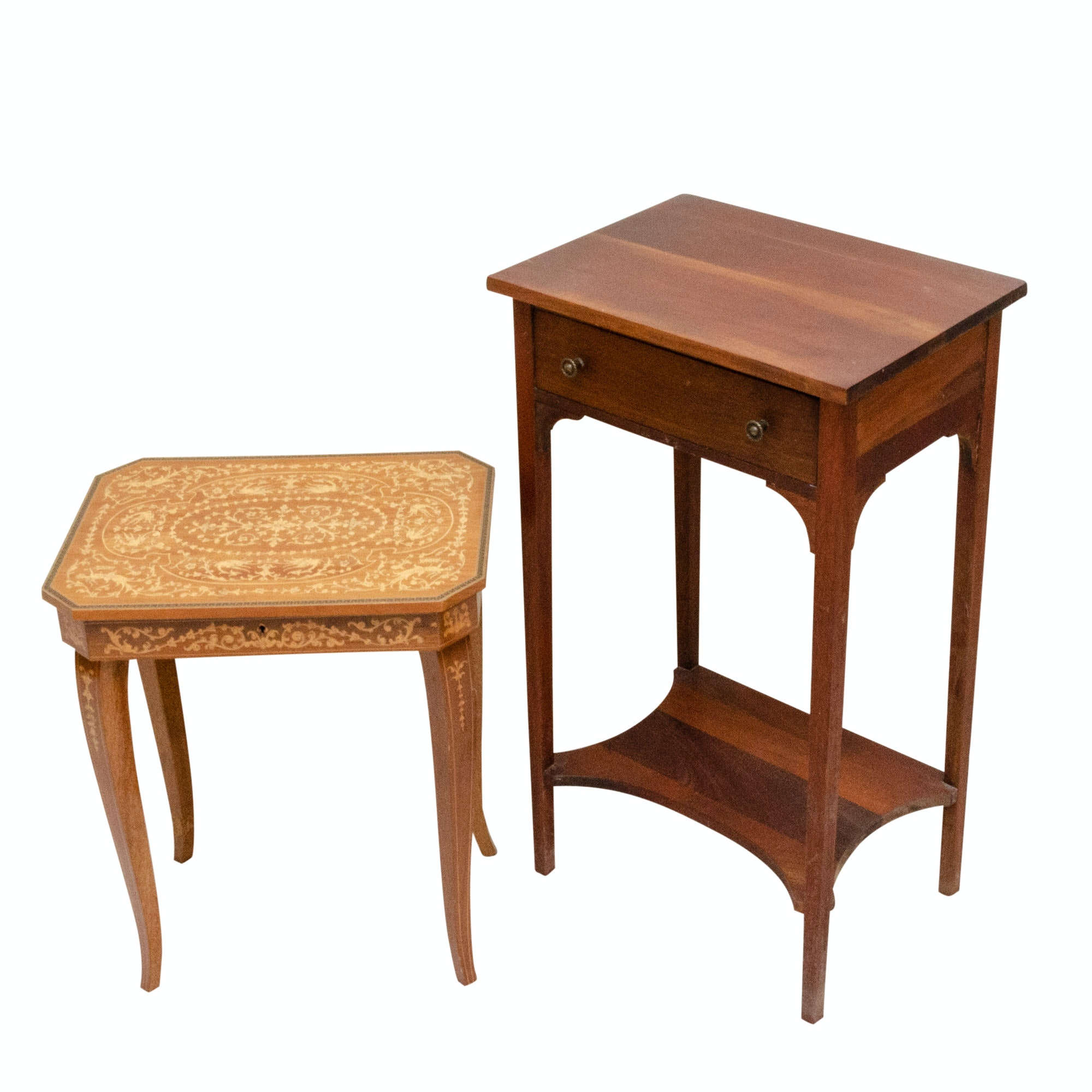 Cherrywood Side Table and Wood Marquetry Music Stand, 20th Century