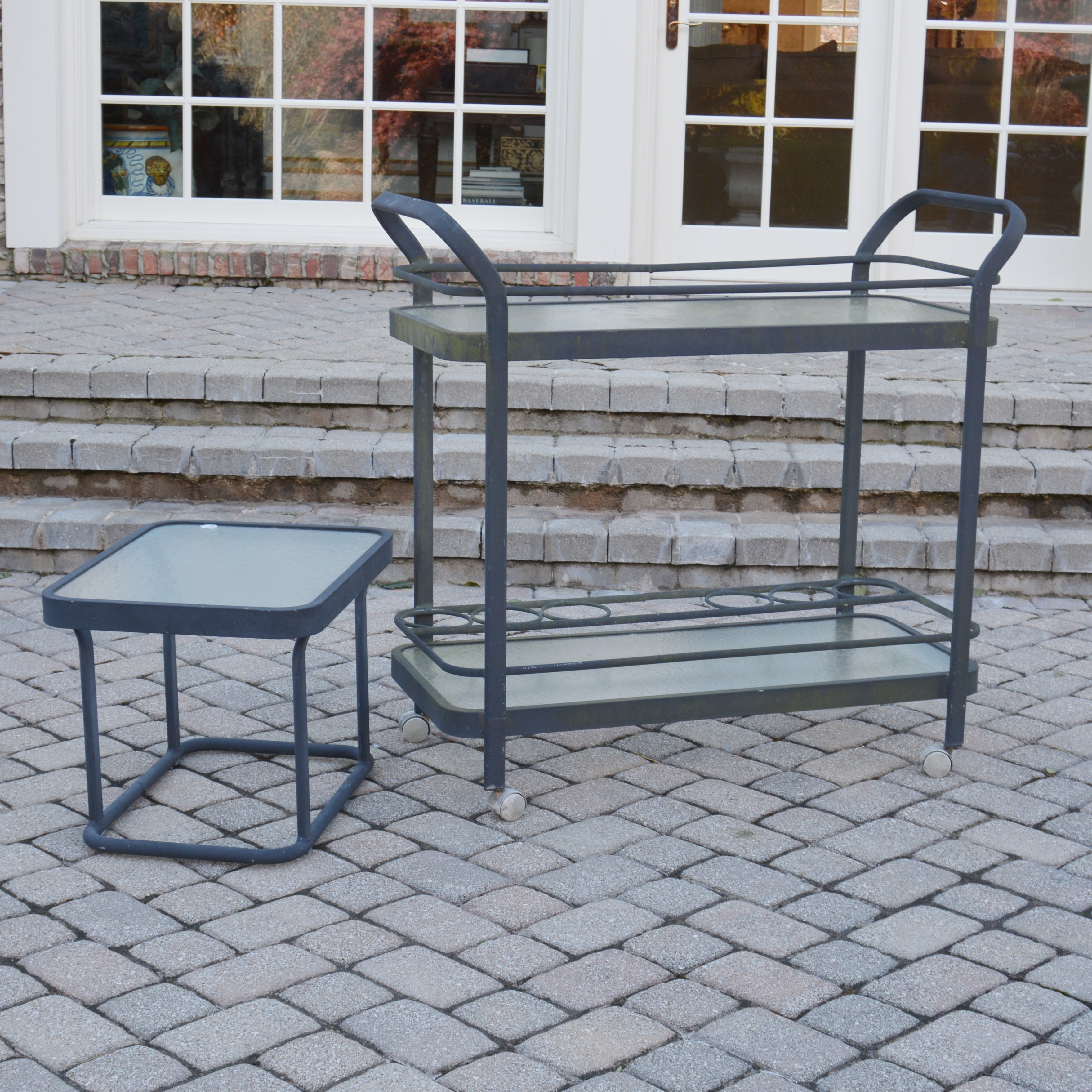 Aluminum Patio Bar Cart and Side Table