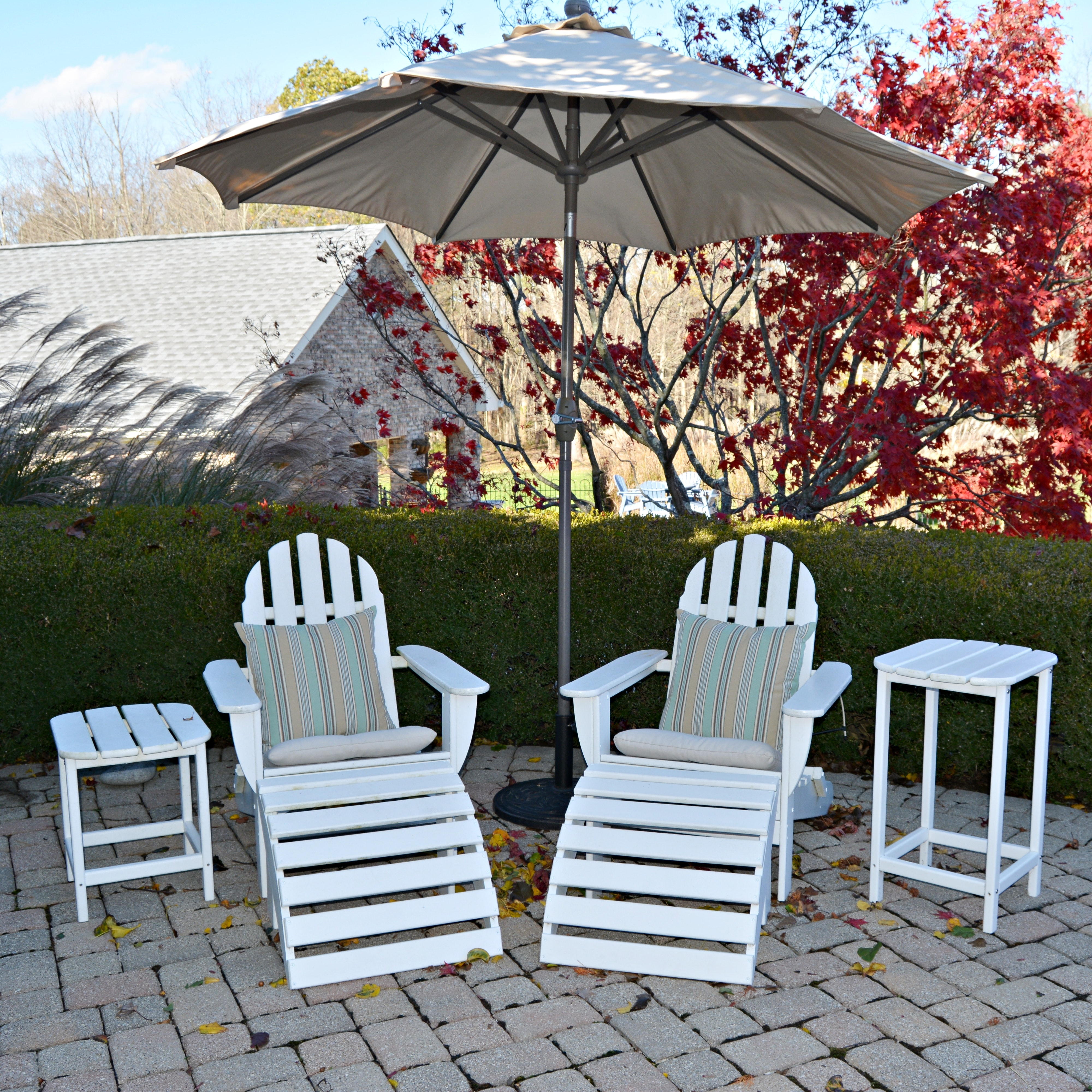 Adirondack Style White Patio Chairs and Tables