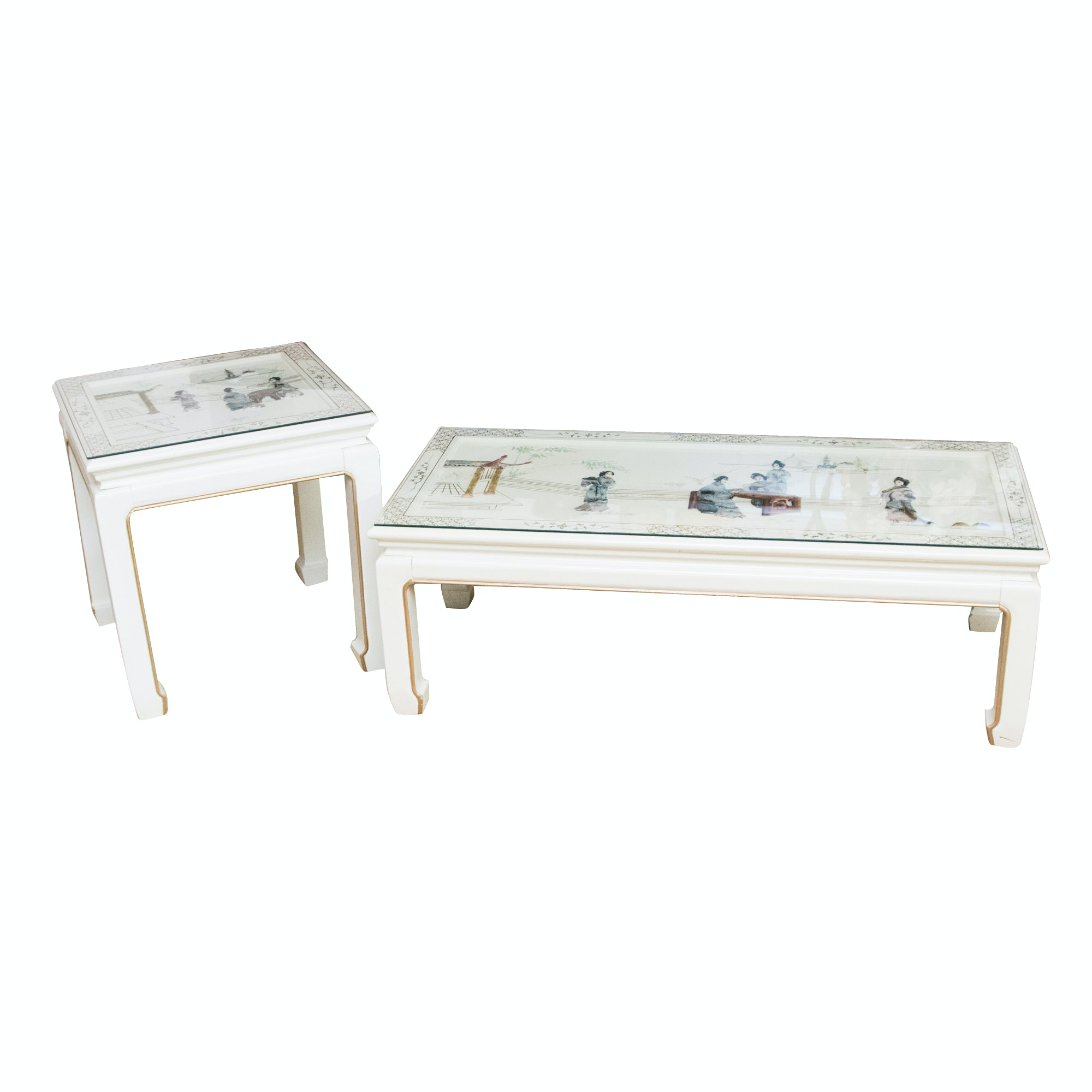 Chinoiserie Hand Painted and Inlaid Coffee Table and End Table