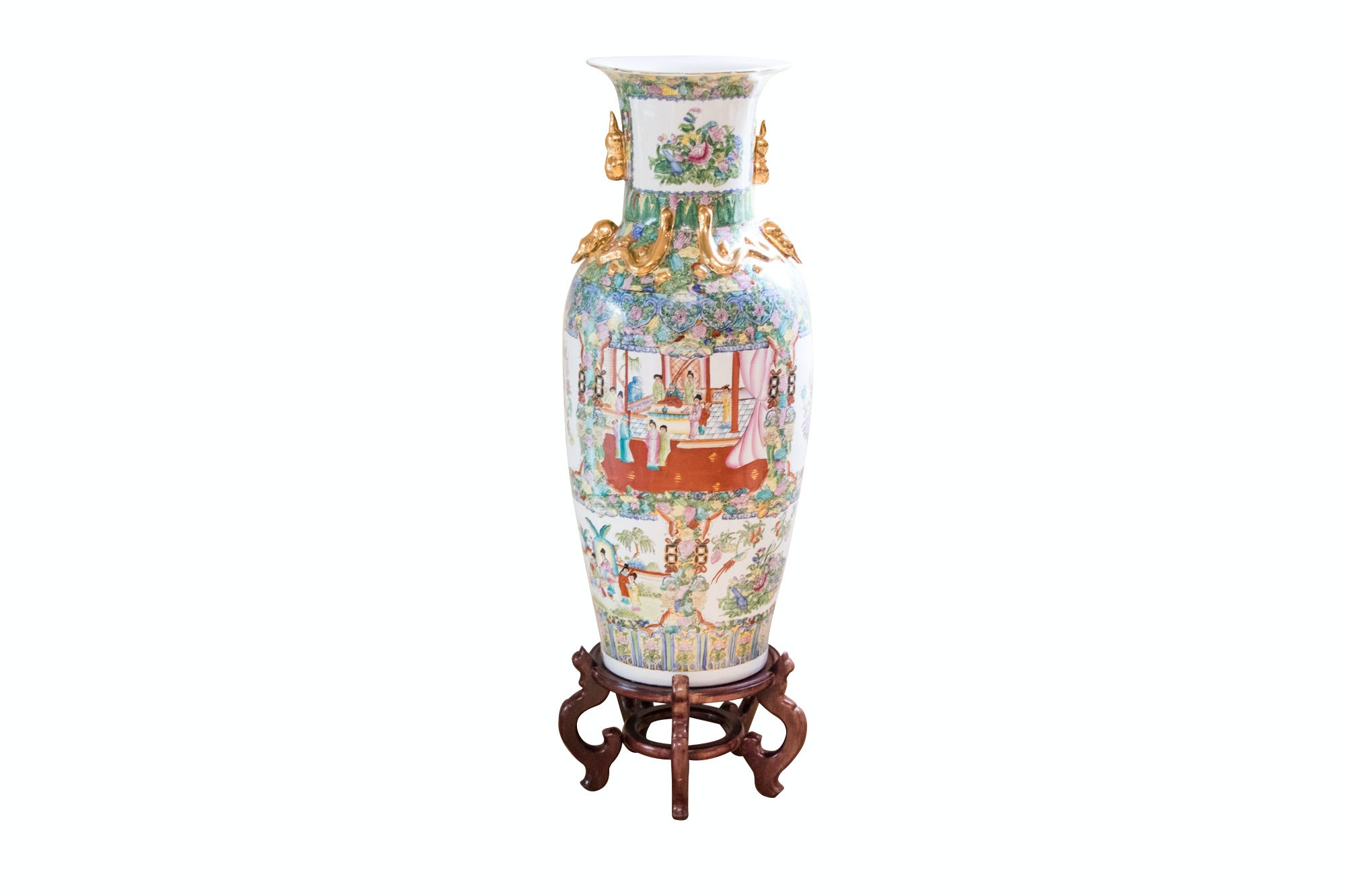 "Large Chinese ""Rose Medallion"" Porcelain Vase with Wooden Stand"