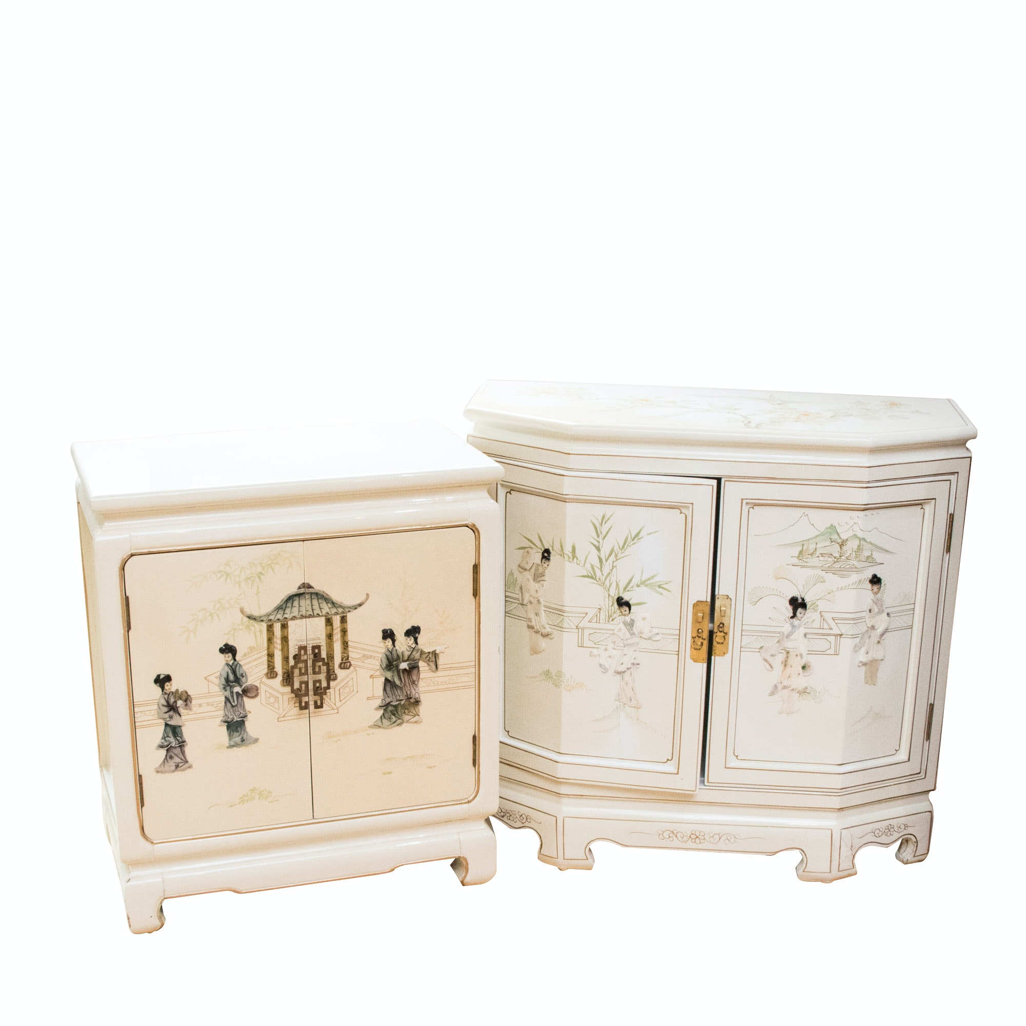 Chinoiserie Hand Painted and Inlaid Cupboard and Accent Table