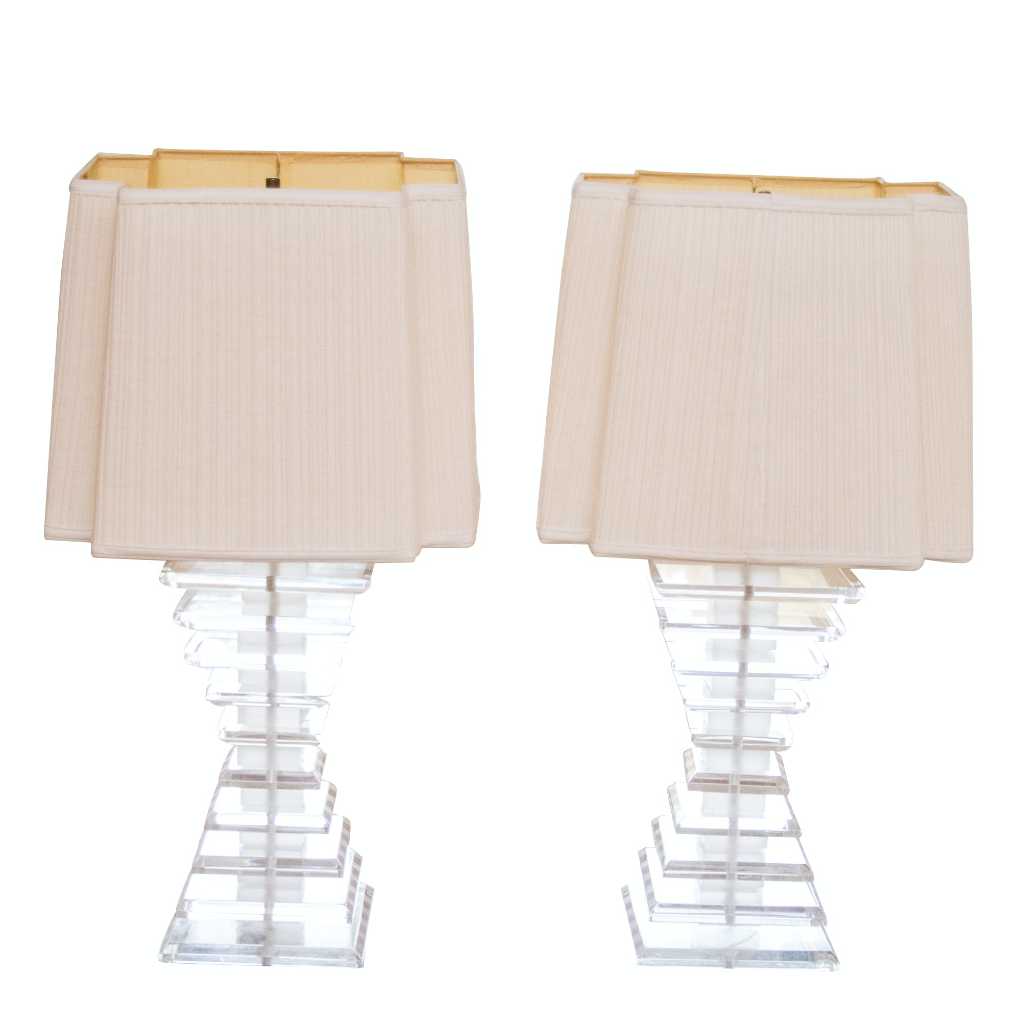 Mid Century Modern Stacked Acrylic Table Lamps