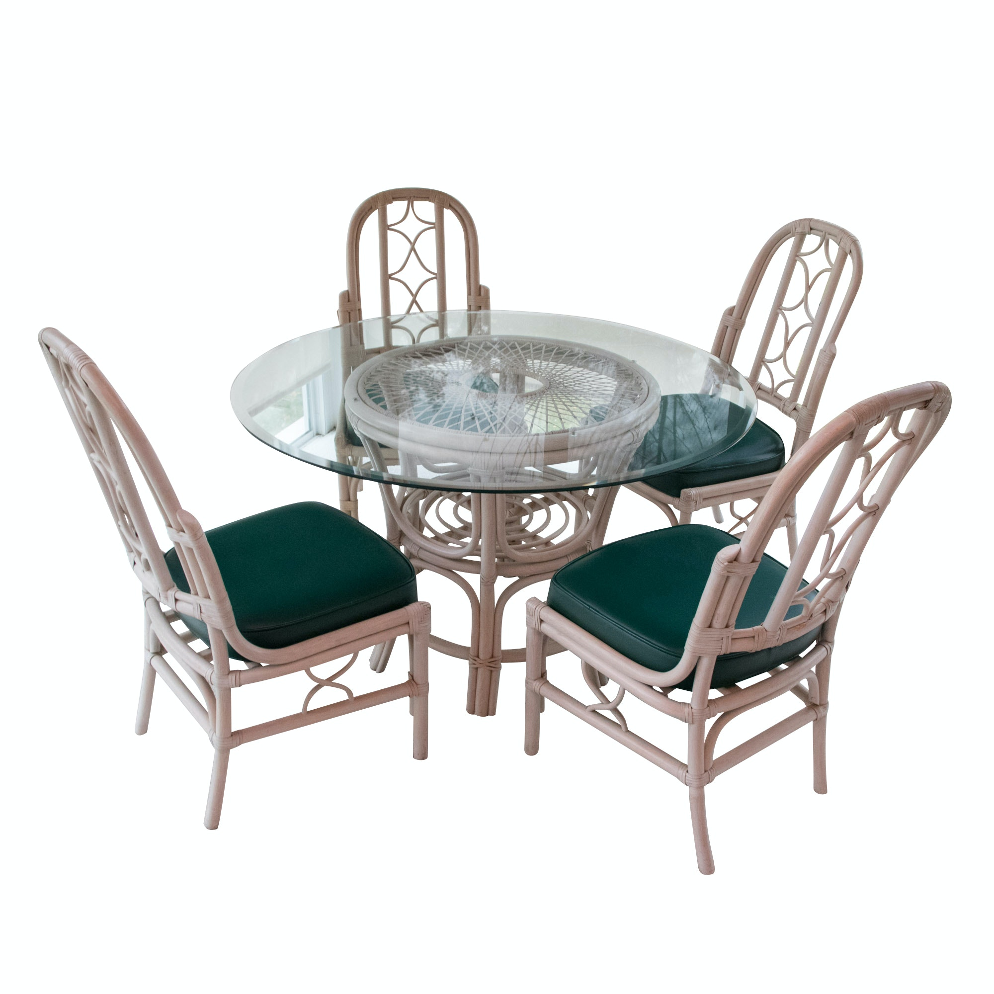 Four Rattan Chairs and Glass Top Table, 20th Century