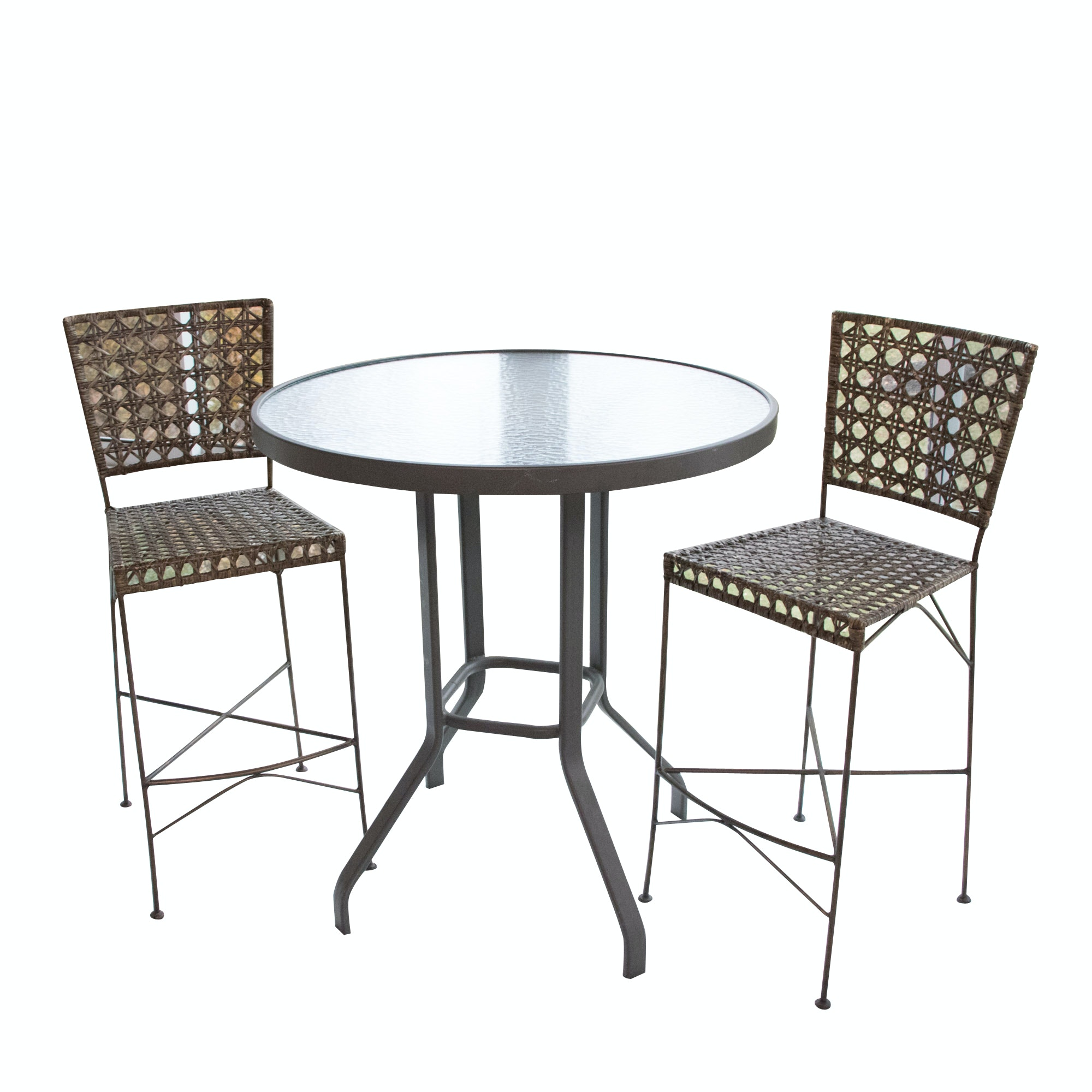 Contemporary Metal Bar Height Table and Chairs