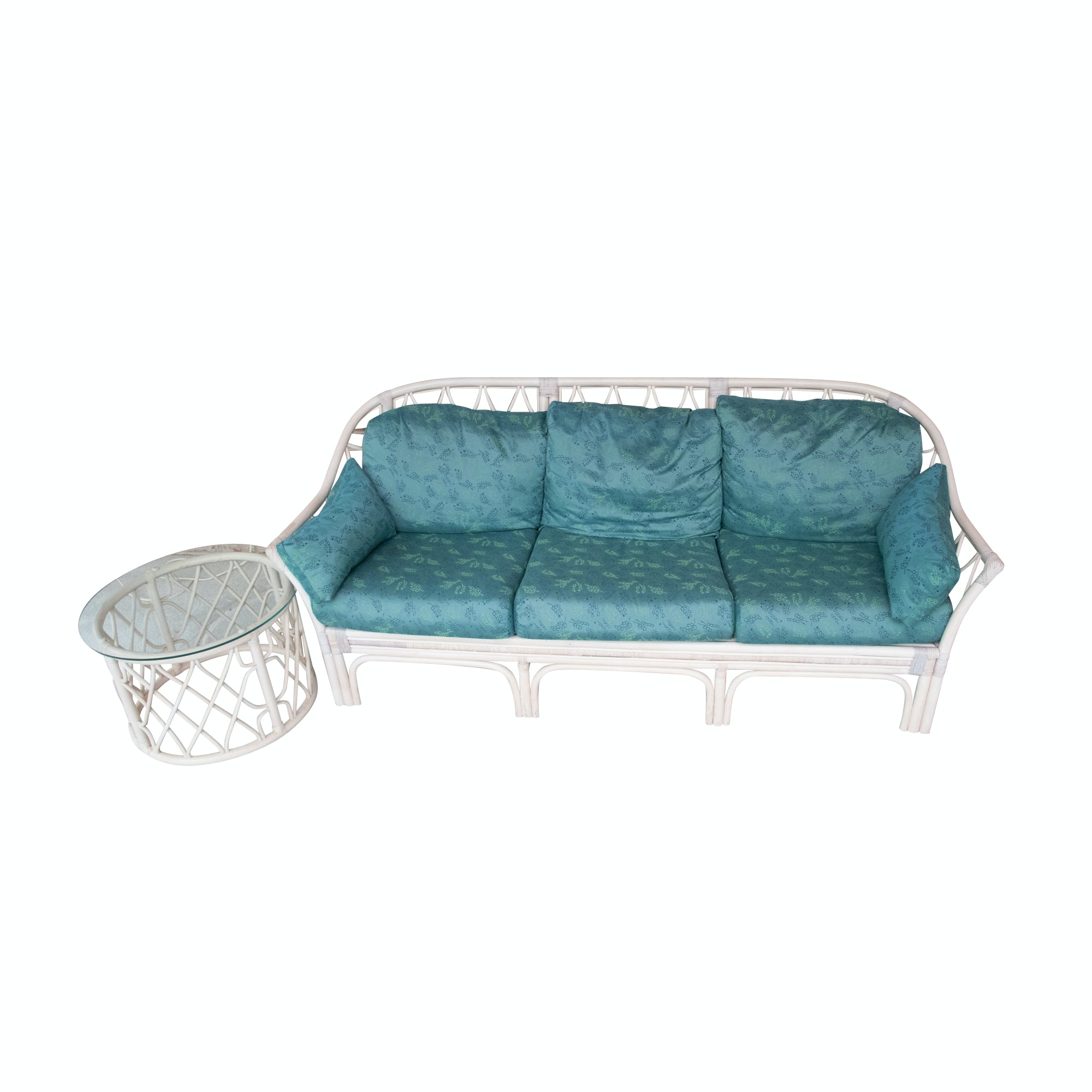 Rattan Frame Sofa with Side Table, 20th Century