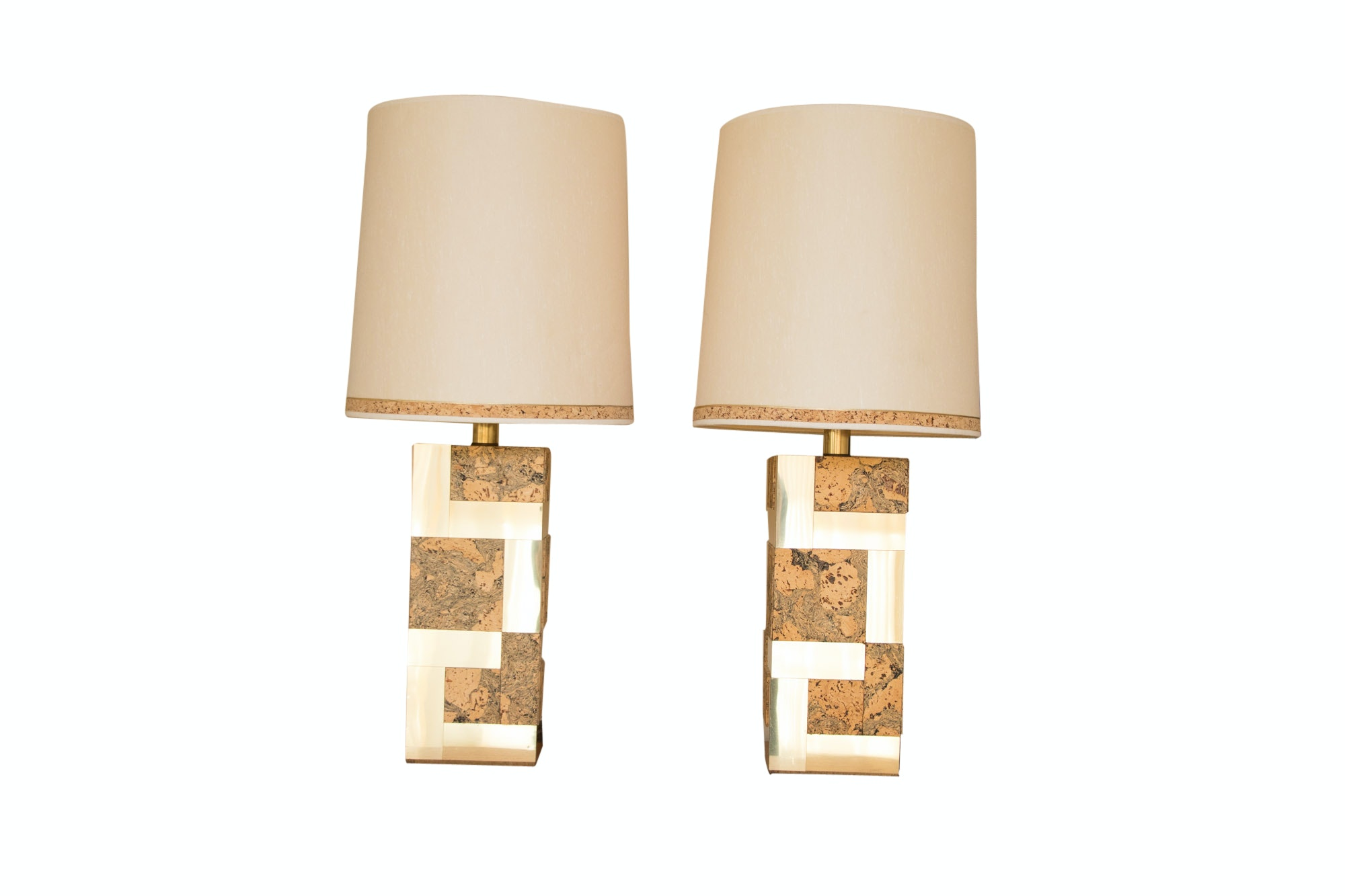 Mid Century Modern Cork and Brass Table Lamps