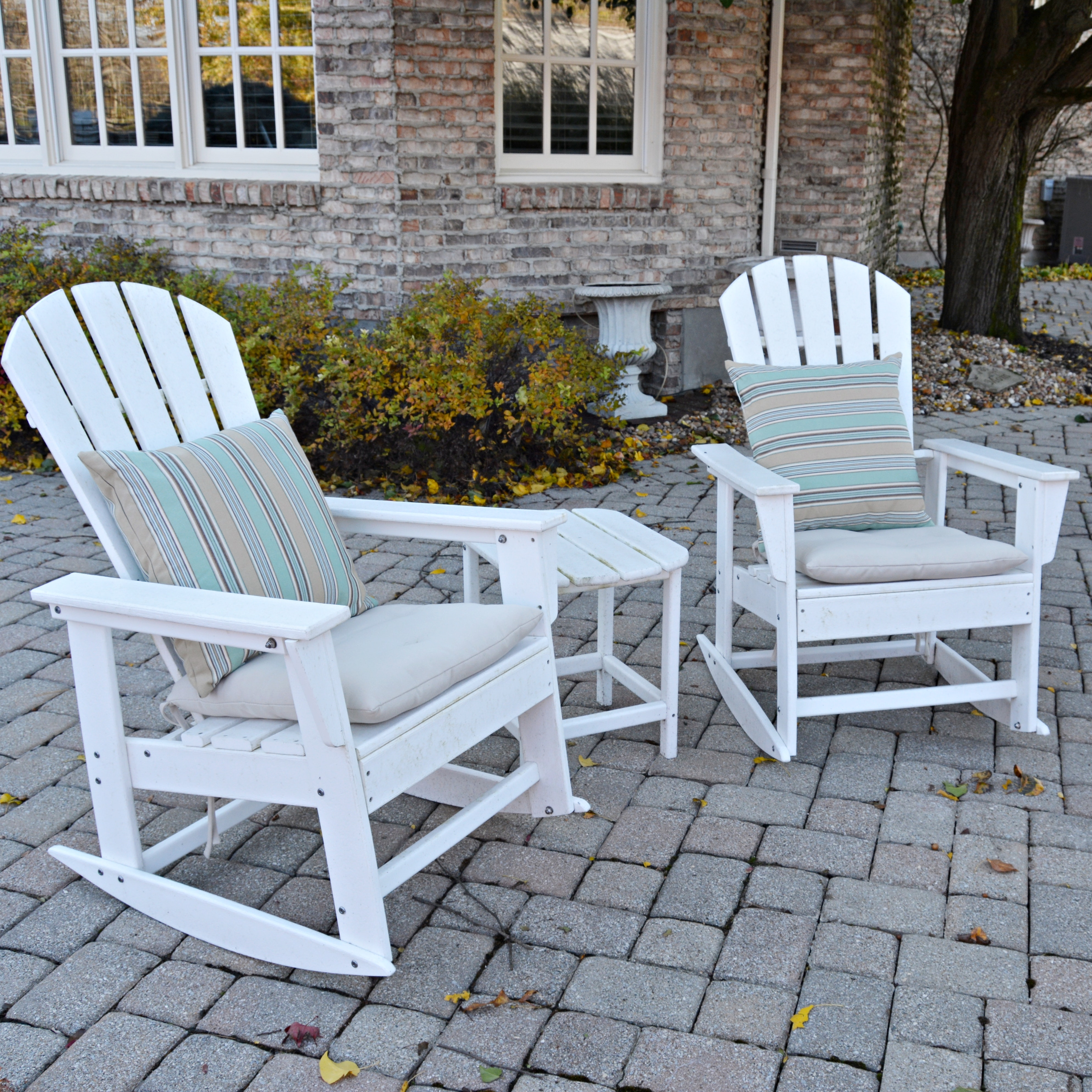 White Patio Adirondack Rocking Chairs and Table by Polywood