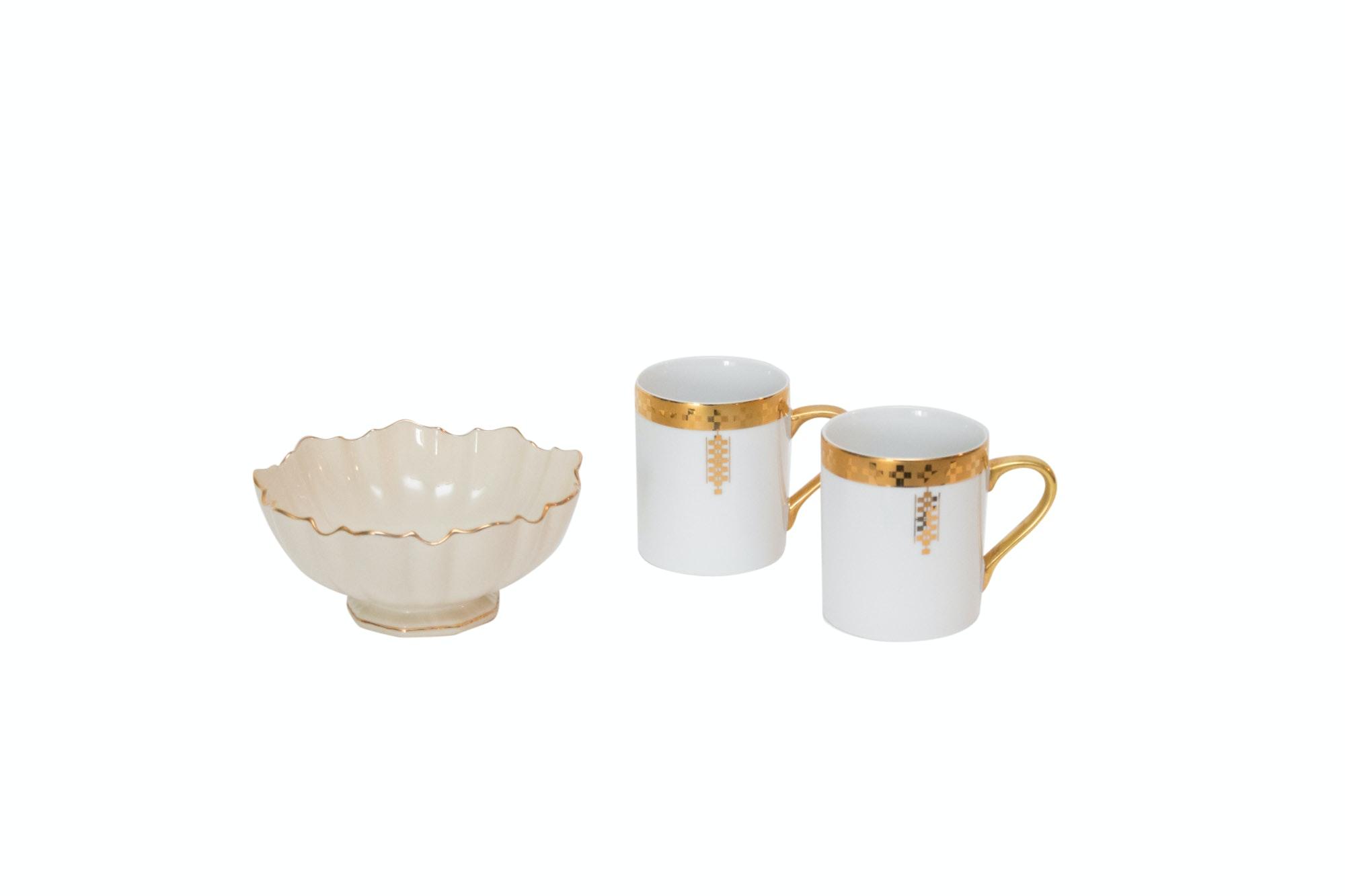 "Tiffany & Co. Frank Lloyd Wright ""Imperial"" Mugs with Lenox Bowl"