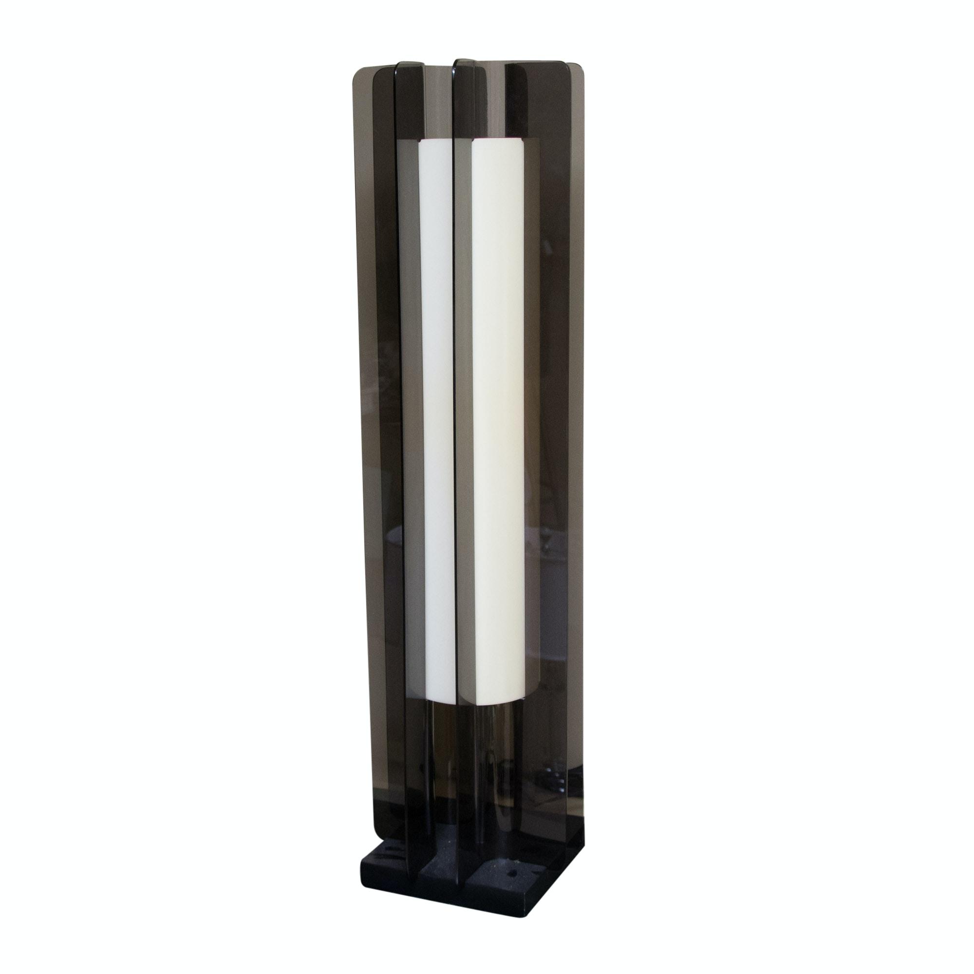 Mid Century Modern Smoked Acrylic Floor Lamp