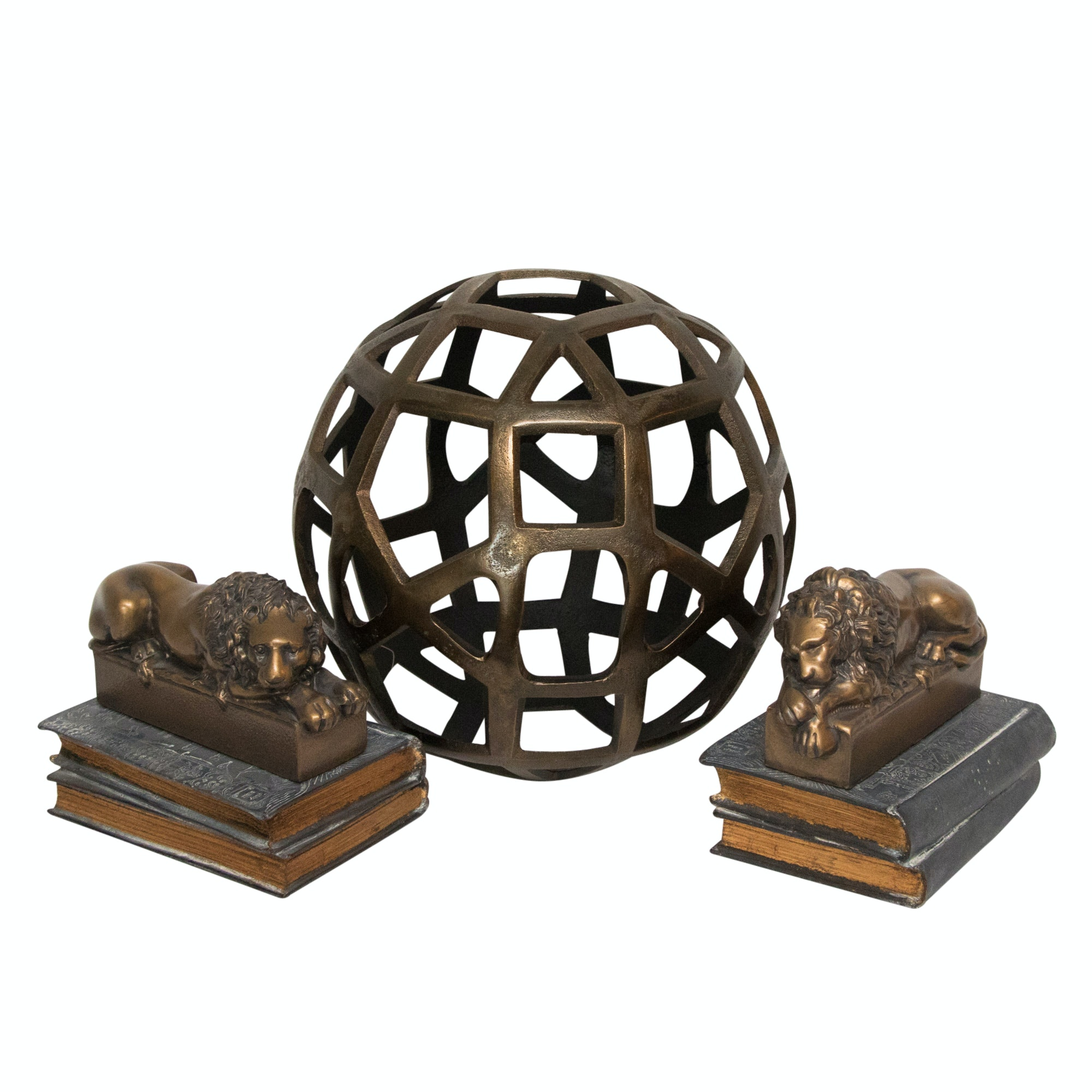 Sand Cast Aluminum Ball by Crate & Barrel with Lion Bookends