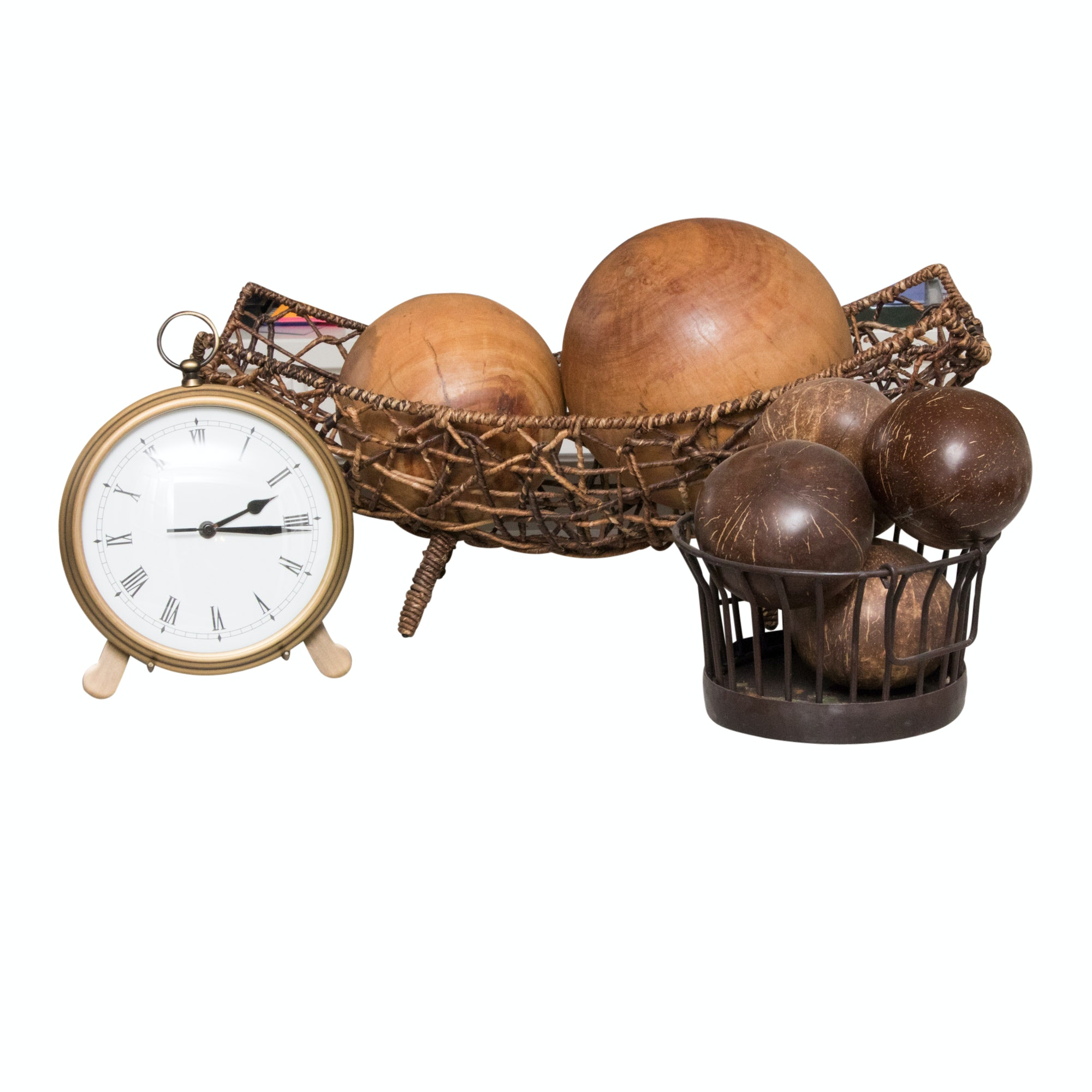 Pocket Watch Clock by Pottery Barn with Natural Fiber and Metal Baskets