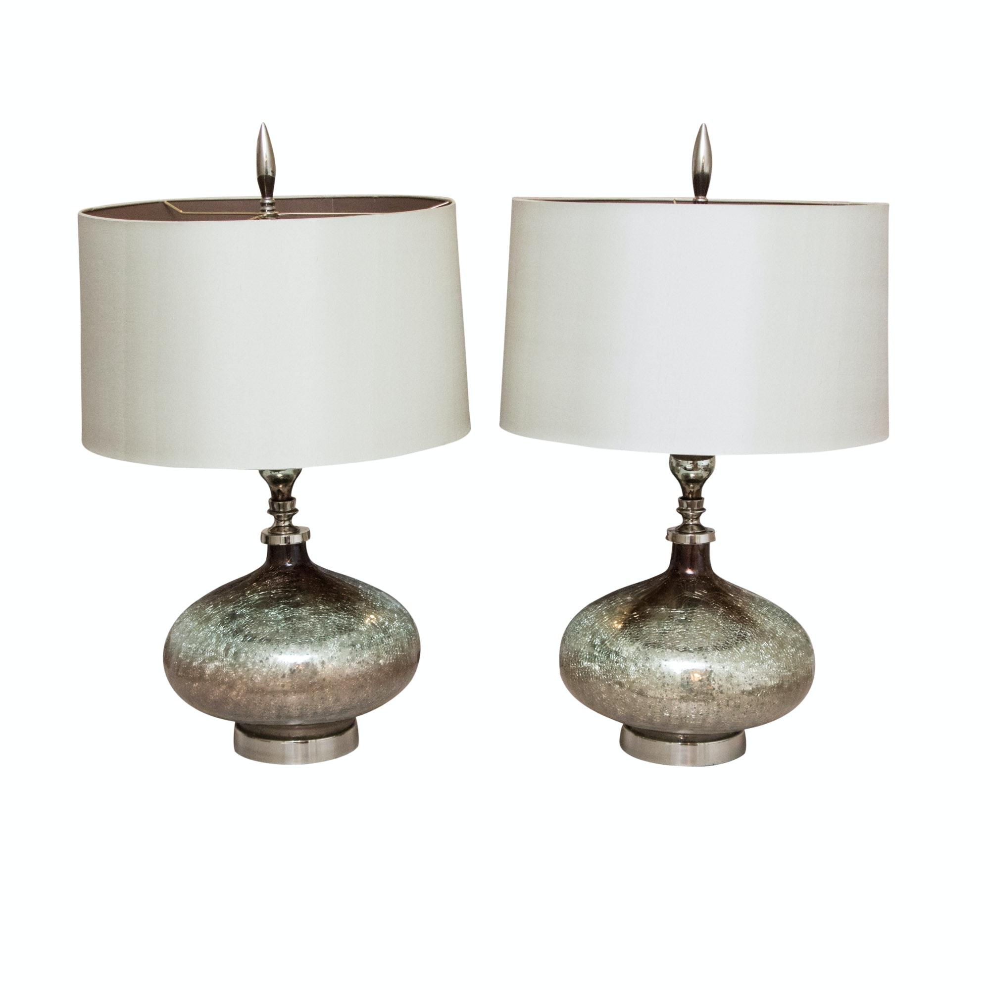John Richard Collection Hand Blown Rainwater On Glass Table Lamps