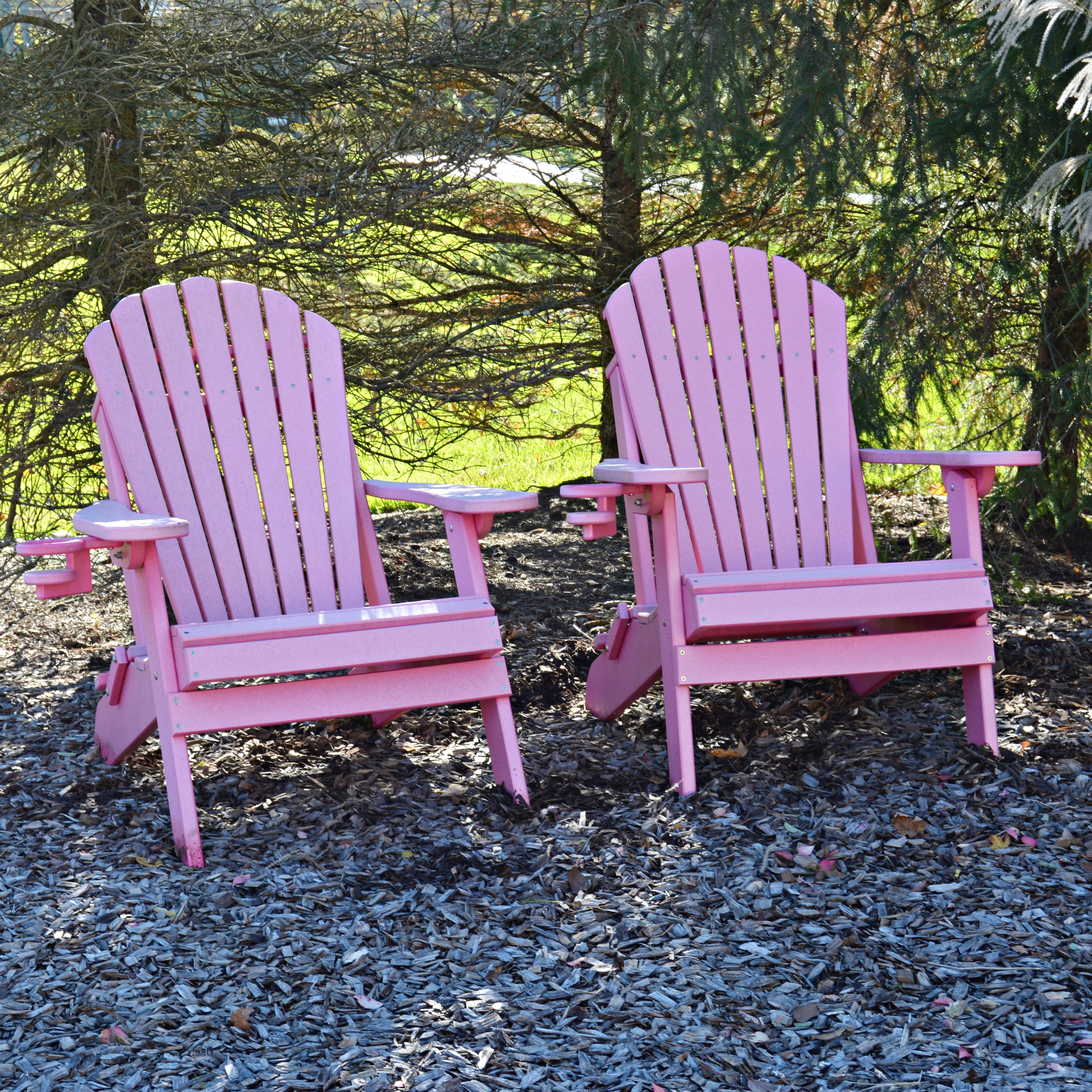Pair of Pink Adirondack Style Chairs With Cup Holders