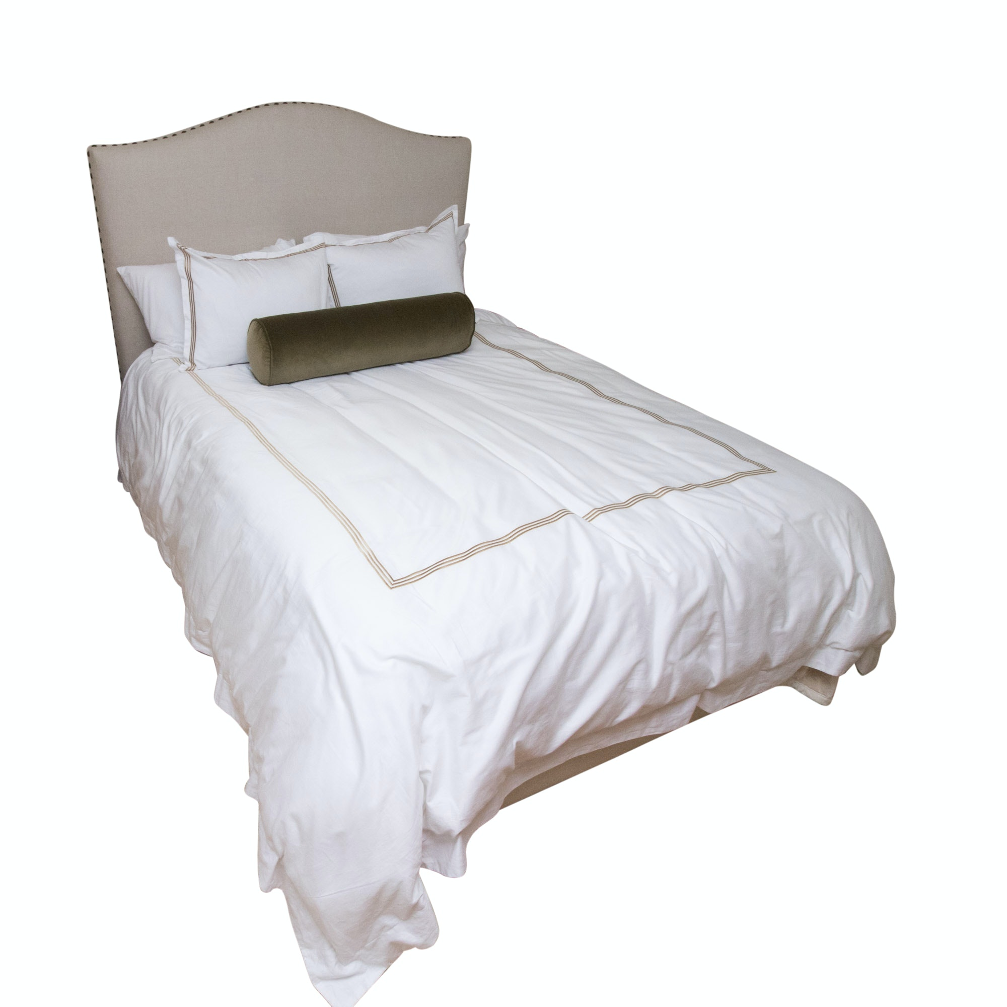 Contemporary Upholstered Queen Size Bed by Pottery Barn with Bedding