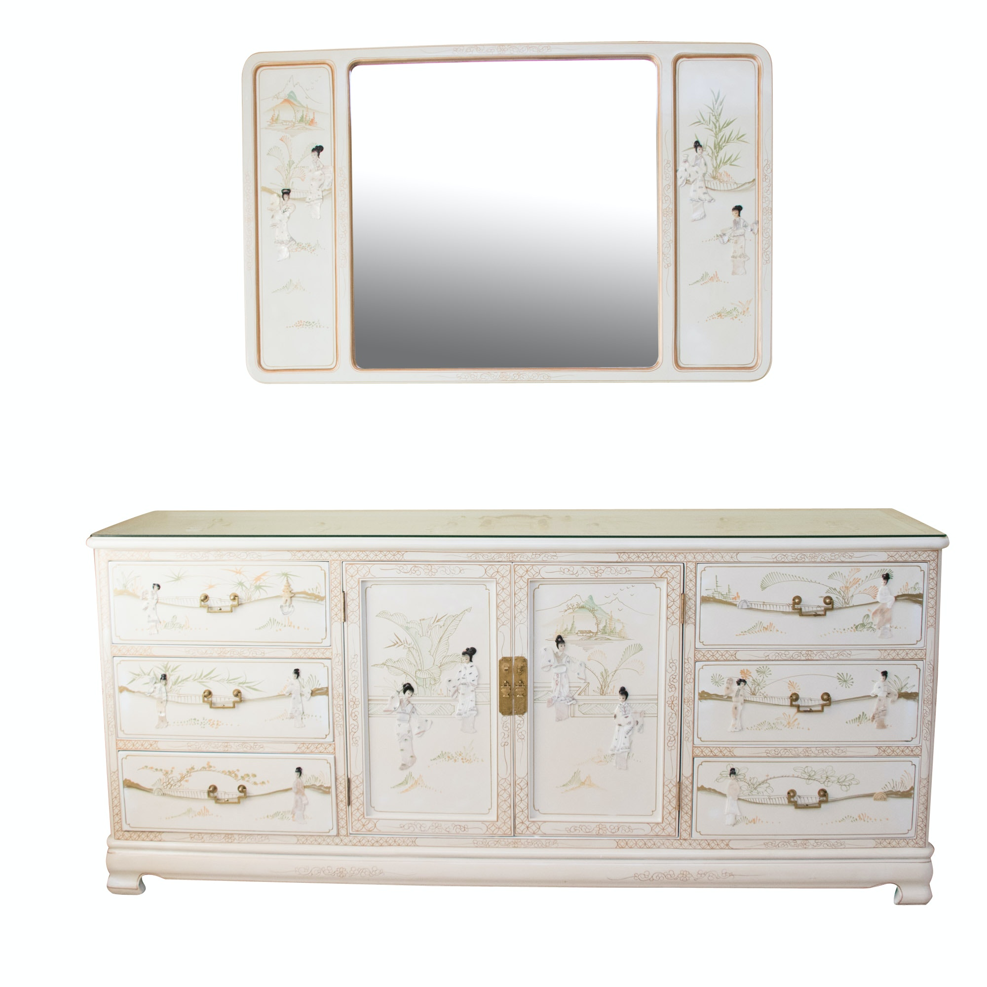 Chinoiserie Hand Painted and Inlaid Dresser and Mirror