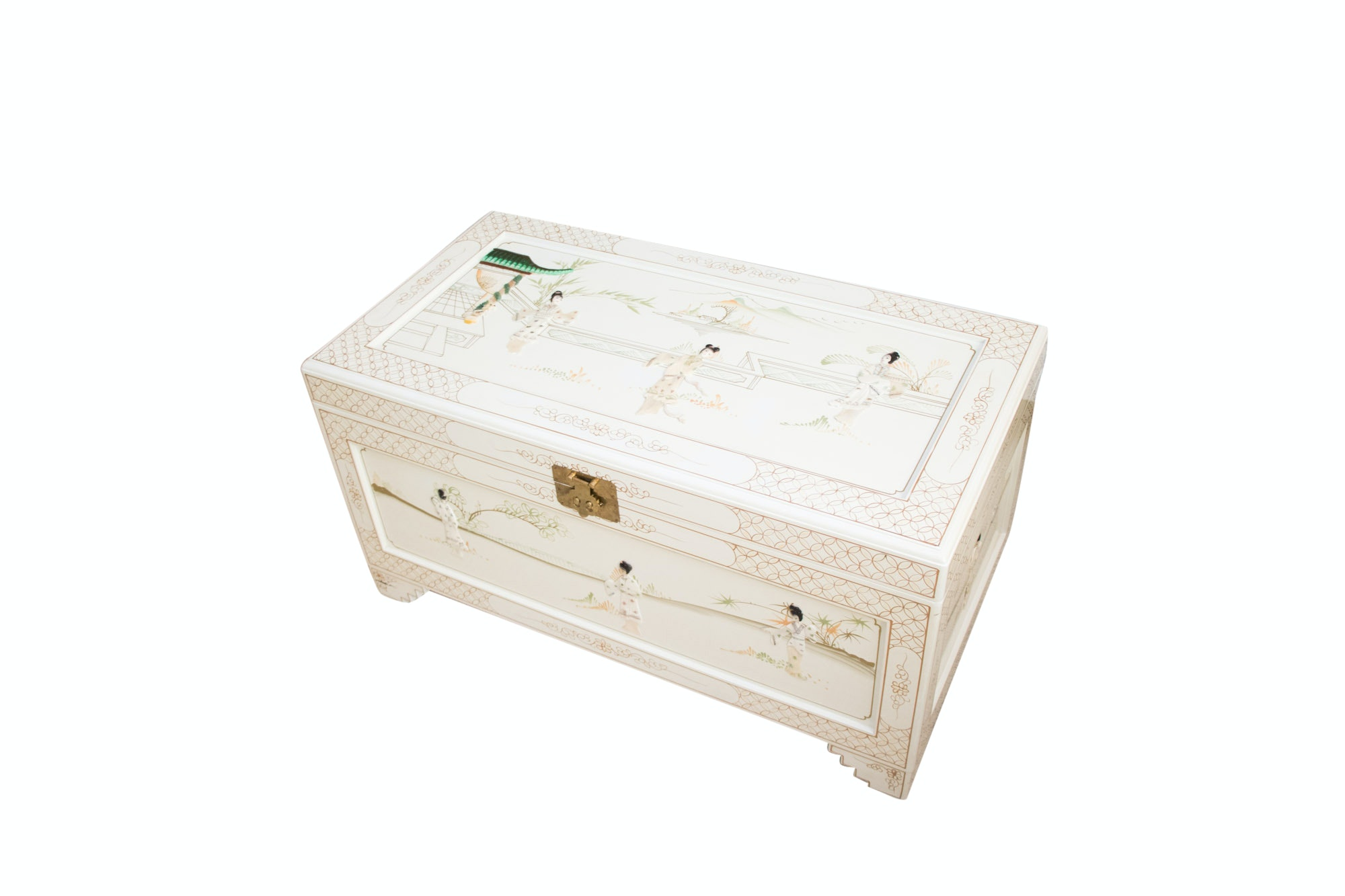 Chinoiserie Hand Painted and Inlaid Chest