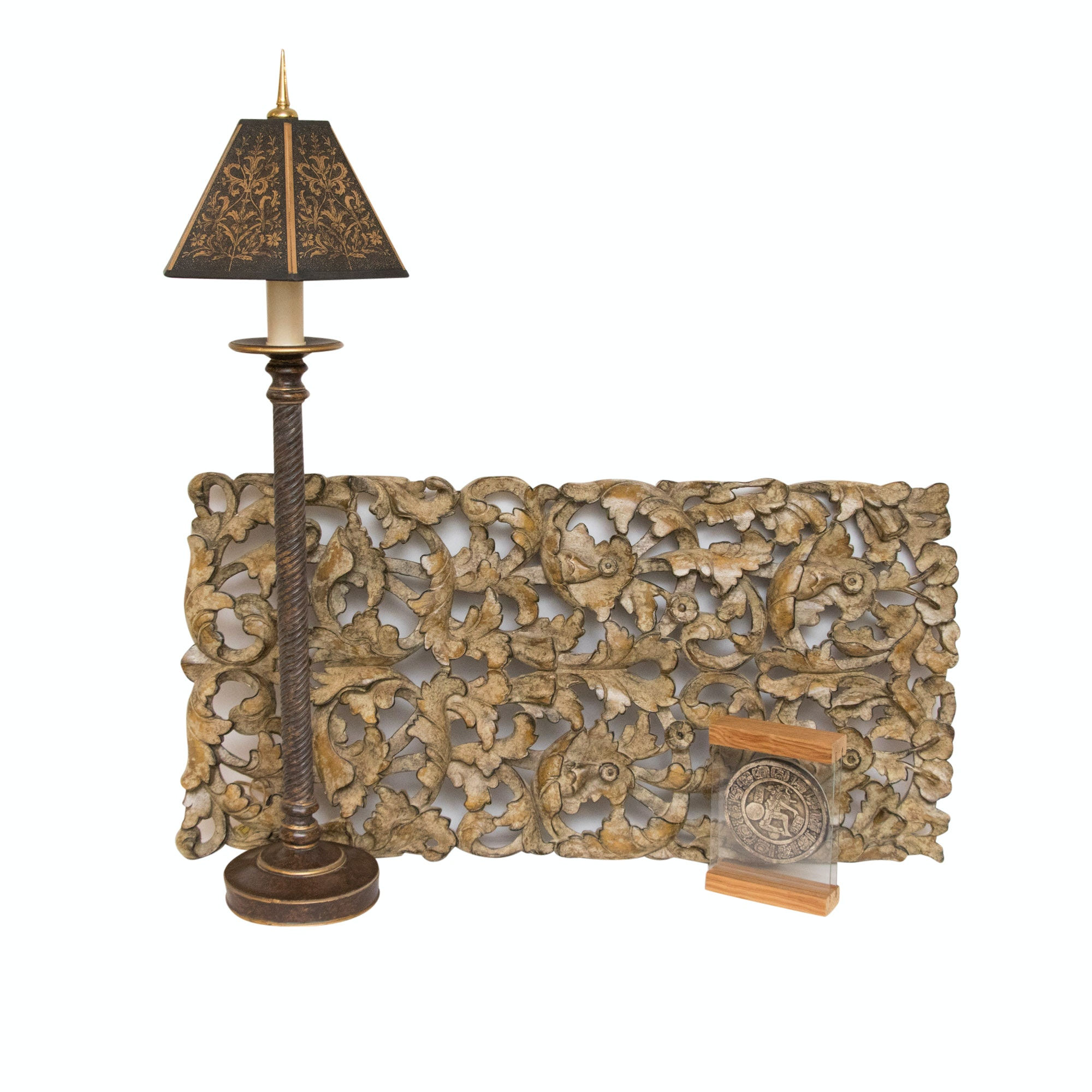 Console Lamp by Henredon with Carved Wall Decor