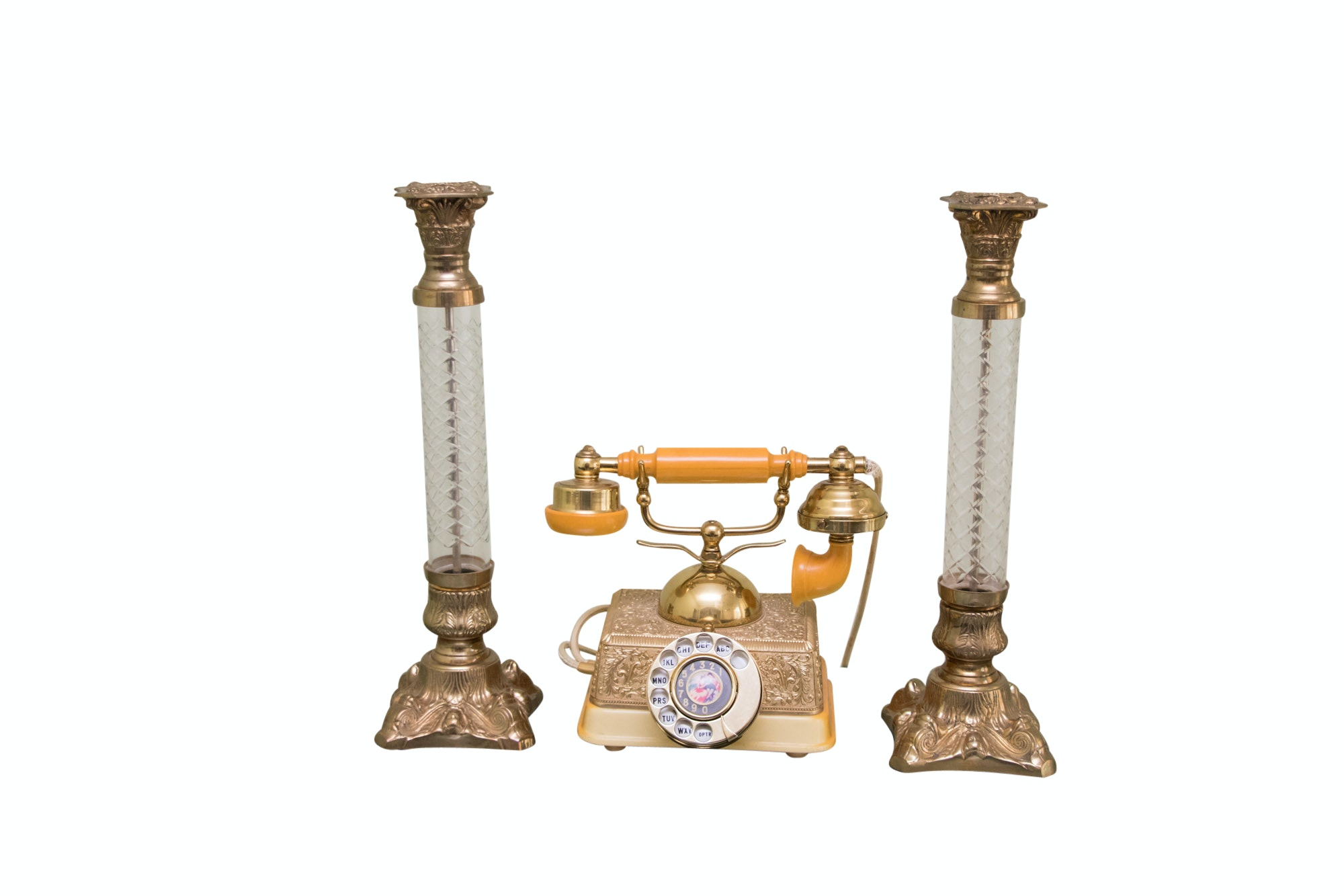 French Style Rotary Dial Phone with Pressed Glass and Metal Candlesticks