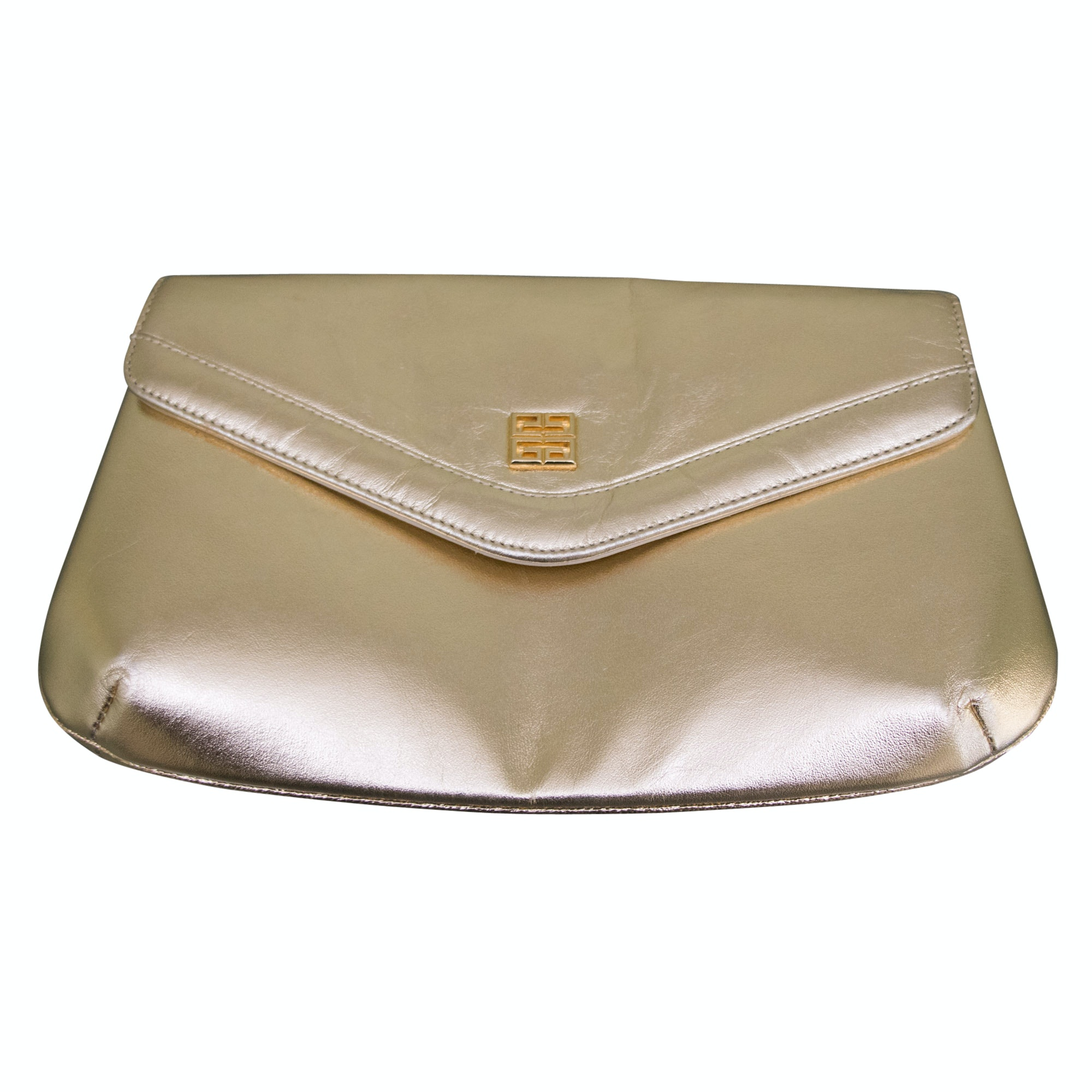 Vintage Givenchy Paris Gold Metallic Leather Clutch Purse with Shoulder Strap