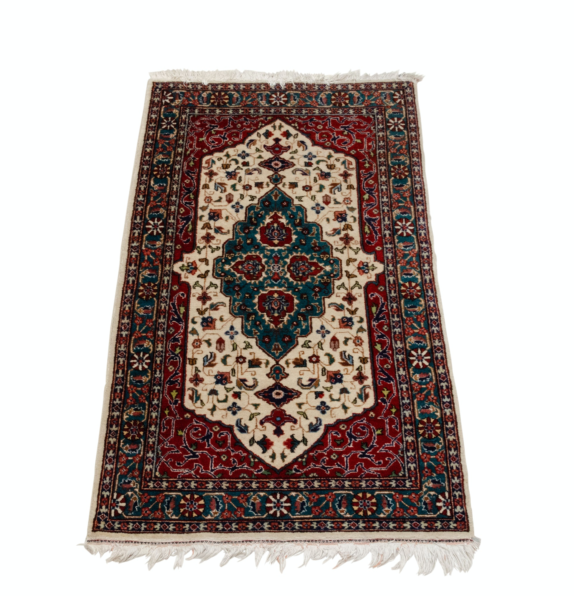 Hand-Knotted Persian Tabatabai Tabriz Wool Area Rug