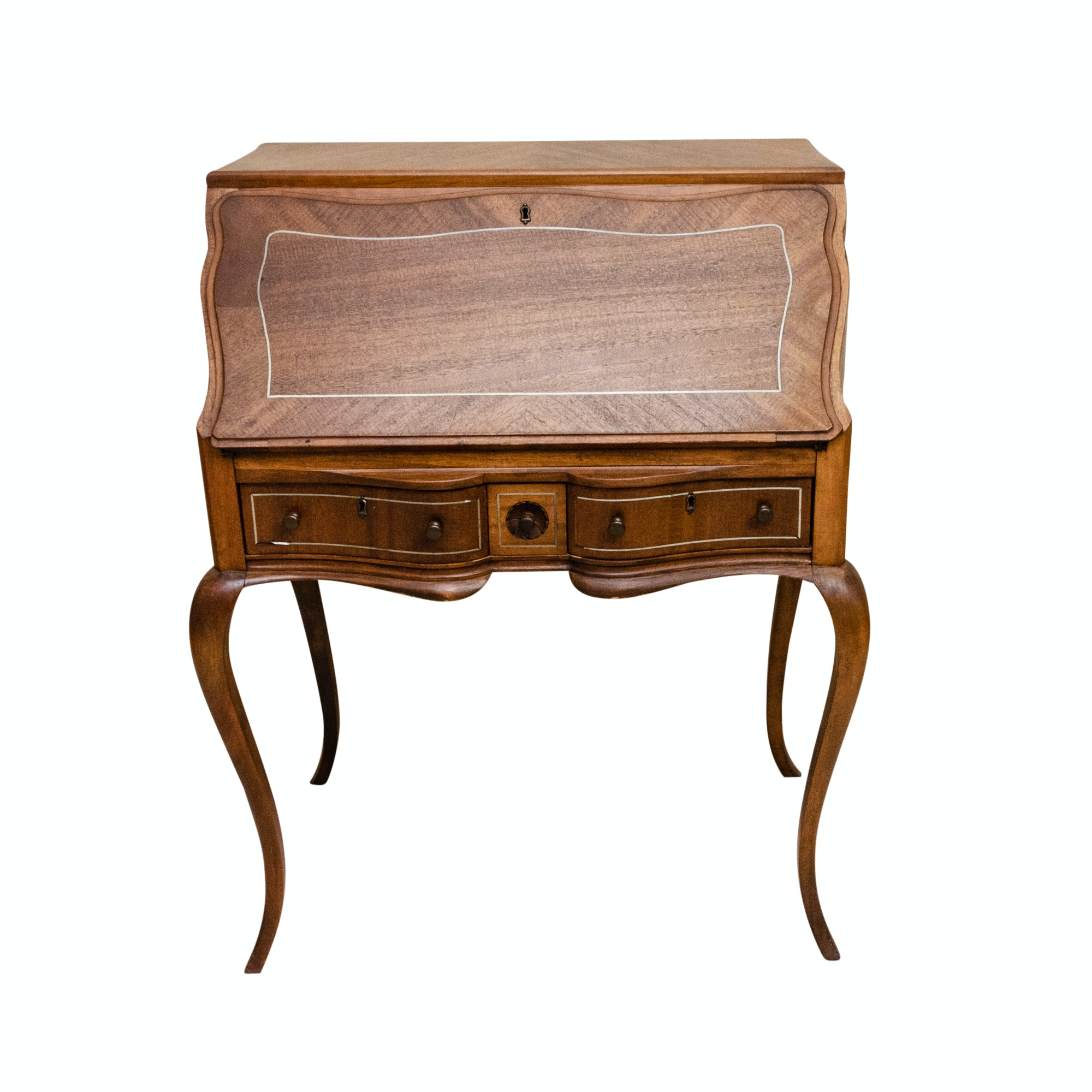 Louis XV Style Mahogany Desk with Mother of Pearl Inlay, 19th Century
