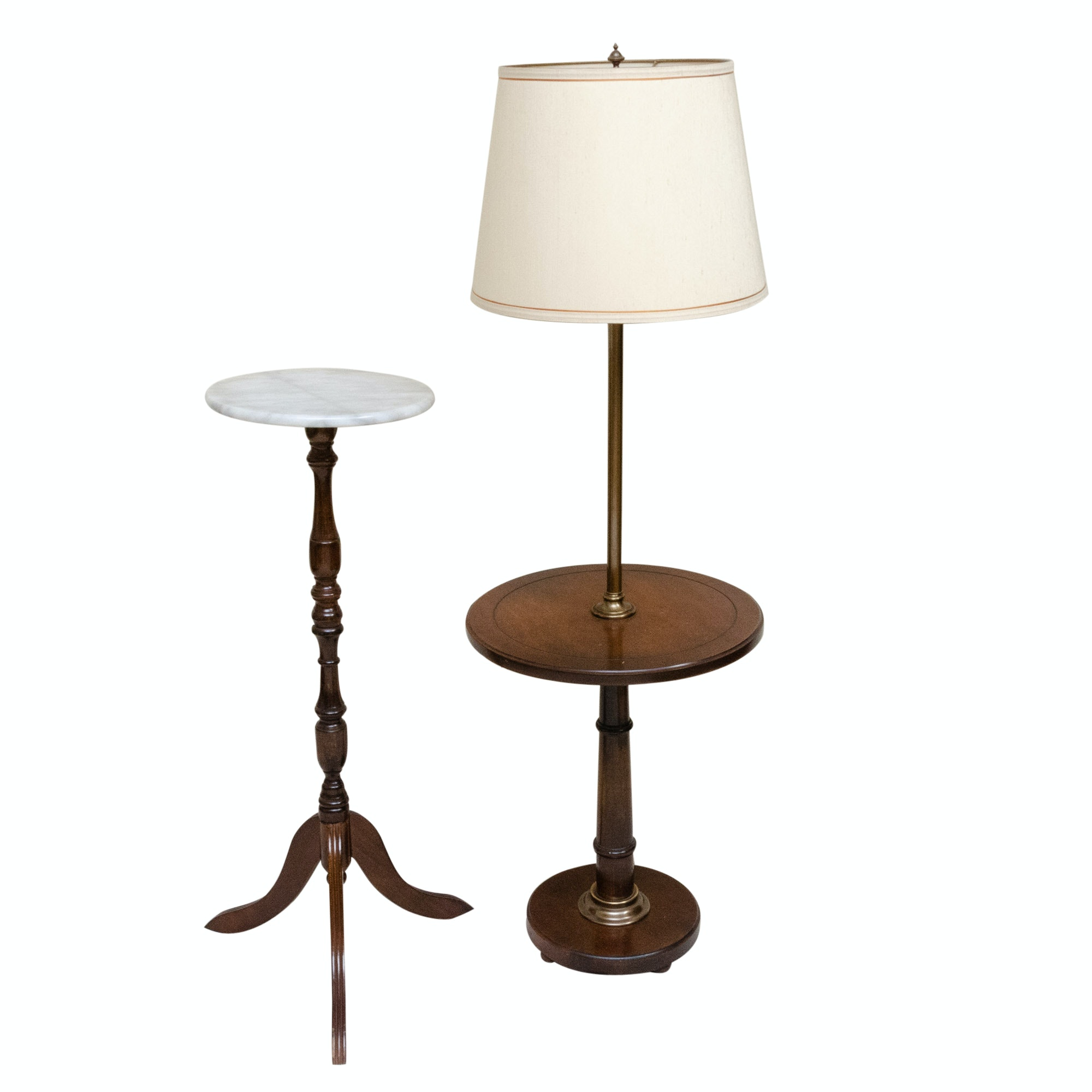 Vintage Wooden Side Table Floor Lamp and Marble Top Pedestal Table