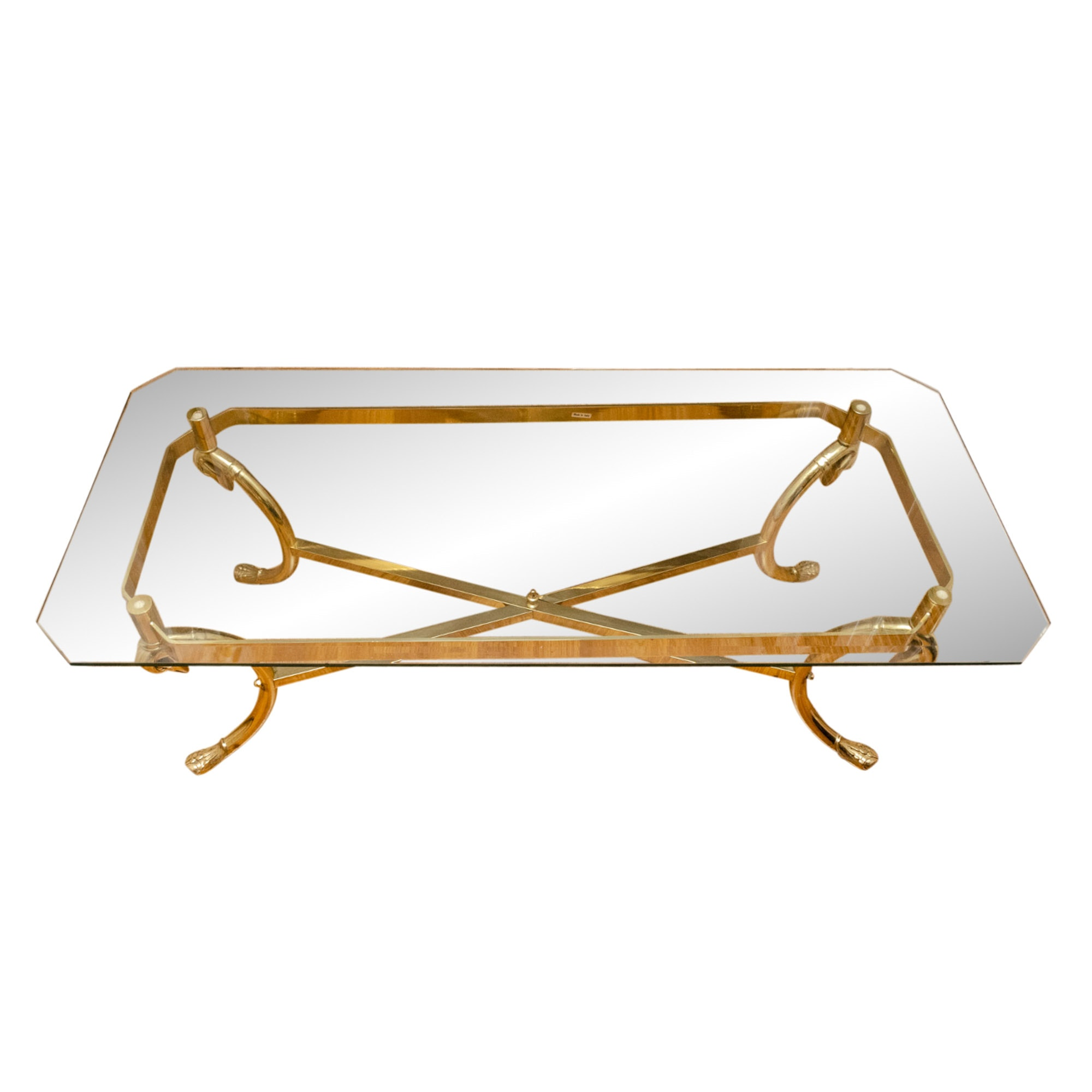 Regency Style Glass and Brass Coffee Table, 20th Century