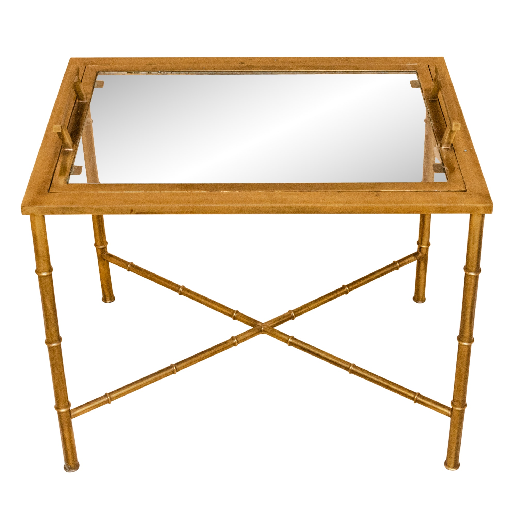 Brass Serving Table with Bamboo Style Frame