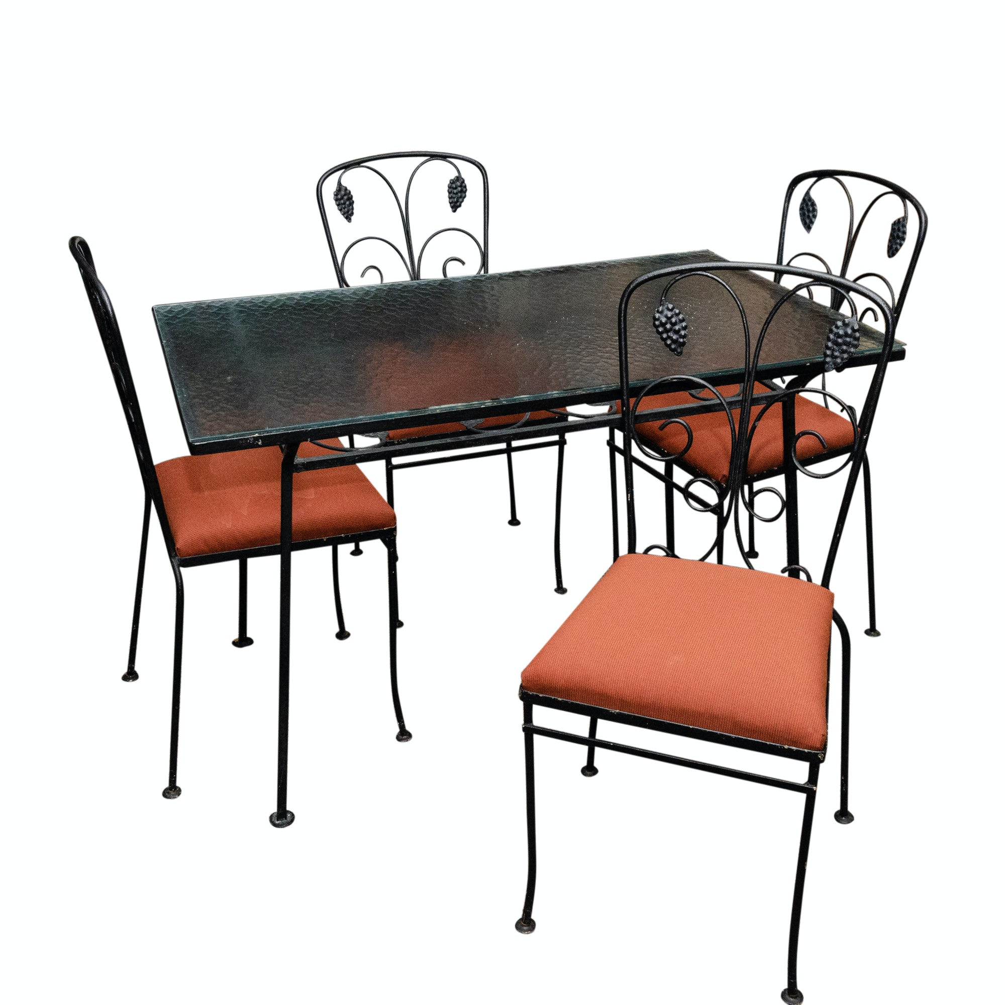 Vintage Grape Cluster Metal Patio Dining Table and Chairs