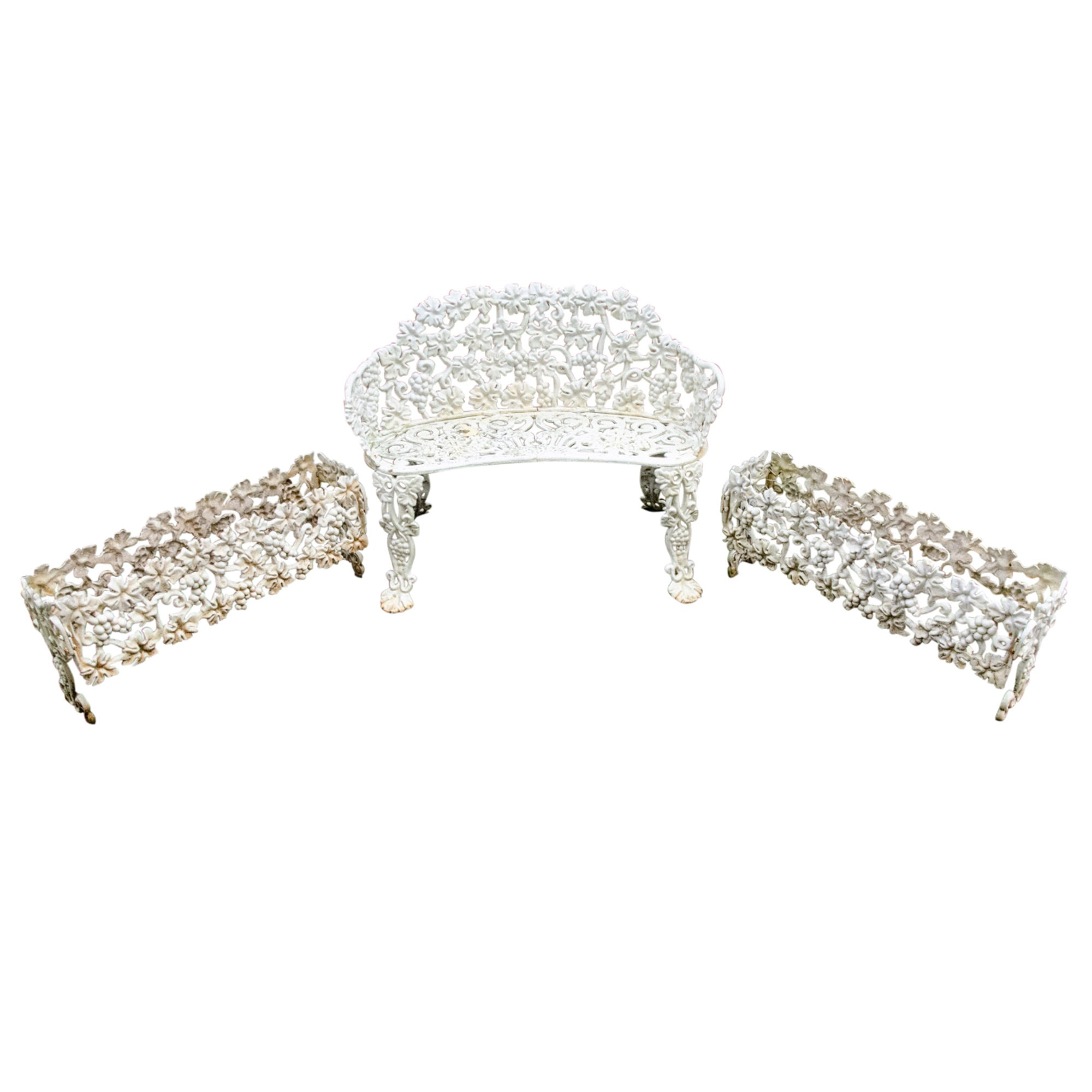 White Finish Grape Cluster and Vine Motif Cast Iron Garden Bench and Planters