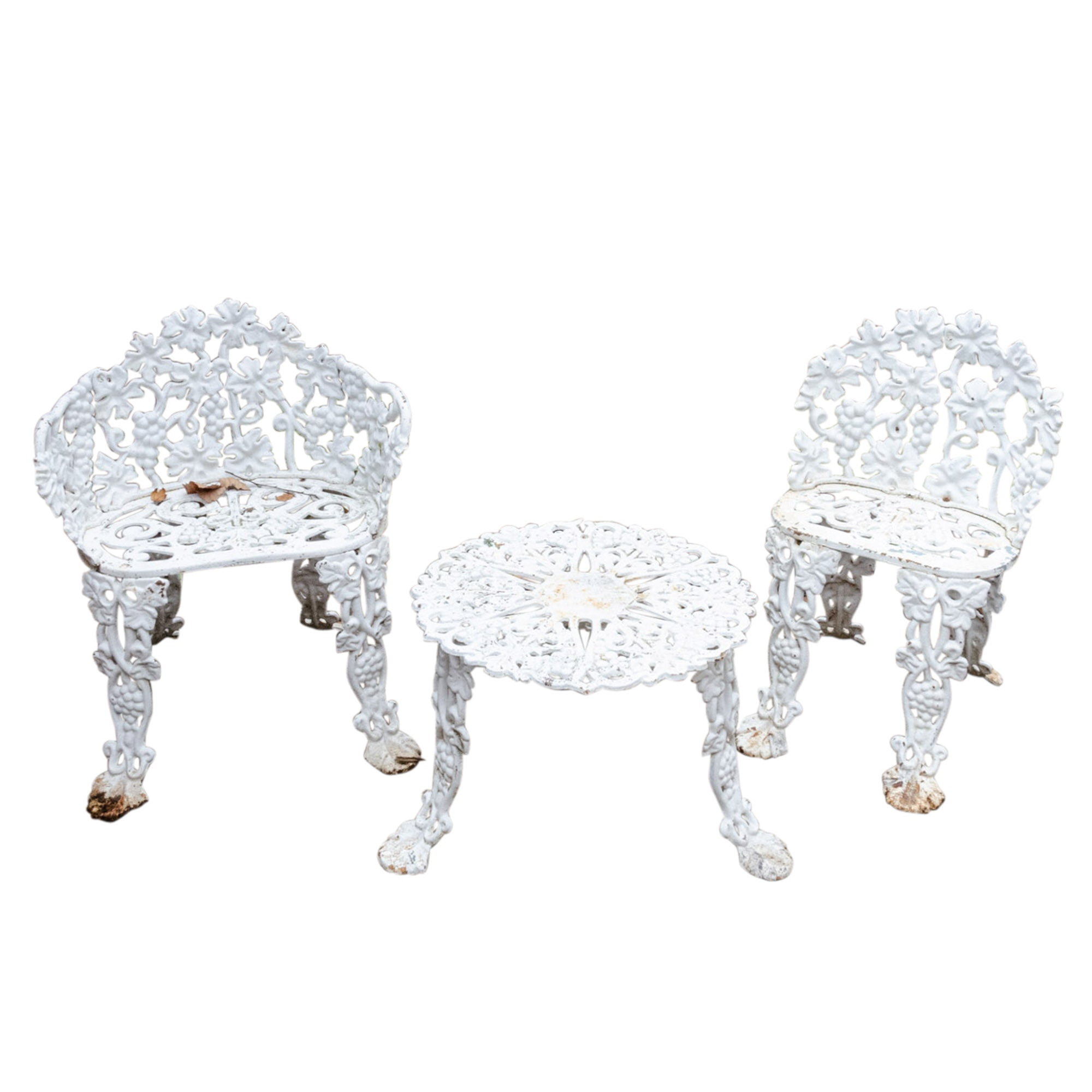White Finish Grape Cluster and Vine Motif Cast Iron Garden Table and Chairs