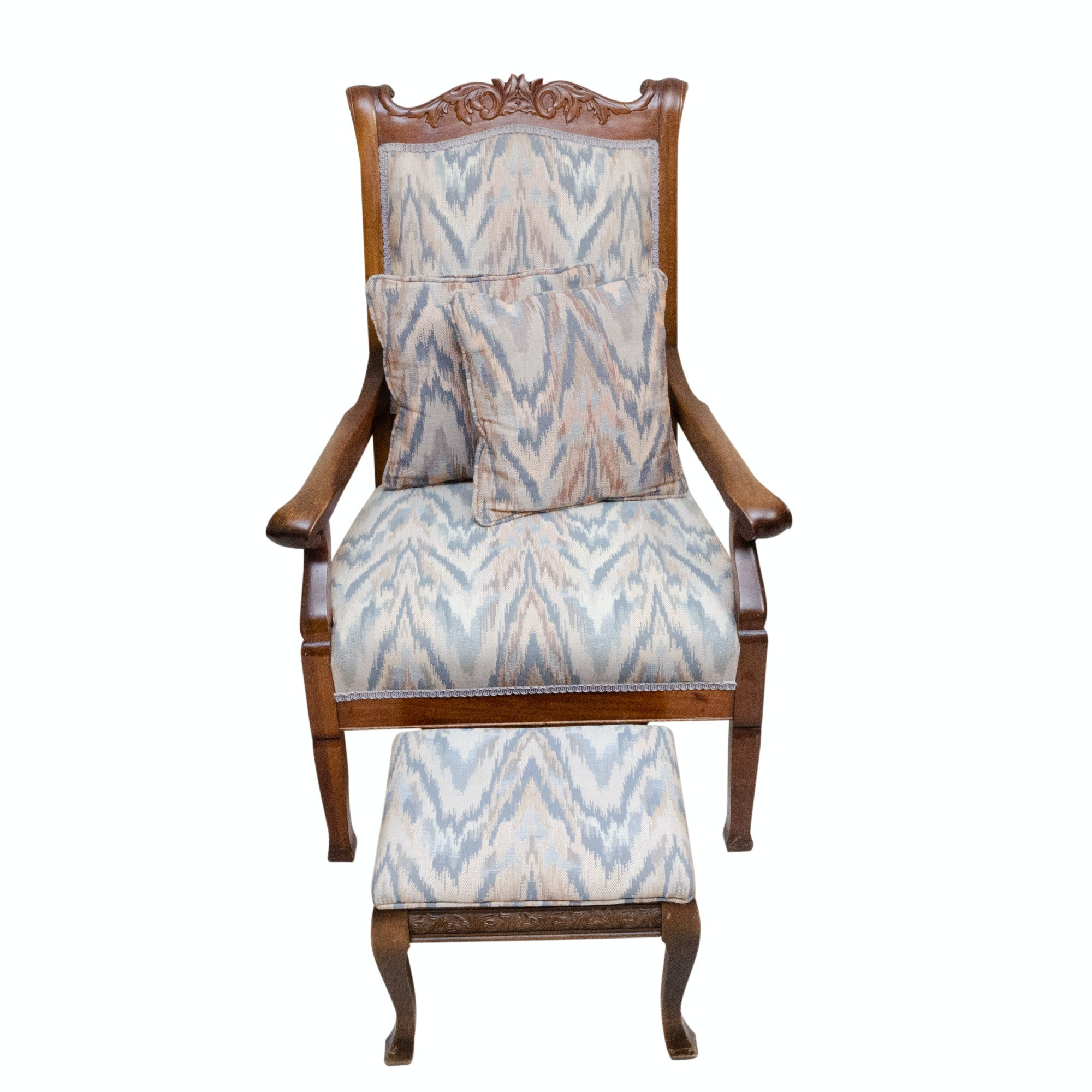 Victorian Style Wood Frame and  Upholstered Armchair and Ottoman