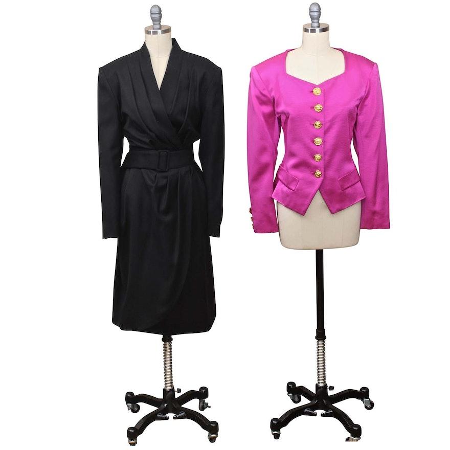075ebd75804 Yves St Laurent of France Pink Suit Jacket and Gaston Jaunet Wool Wrap Dress  ...