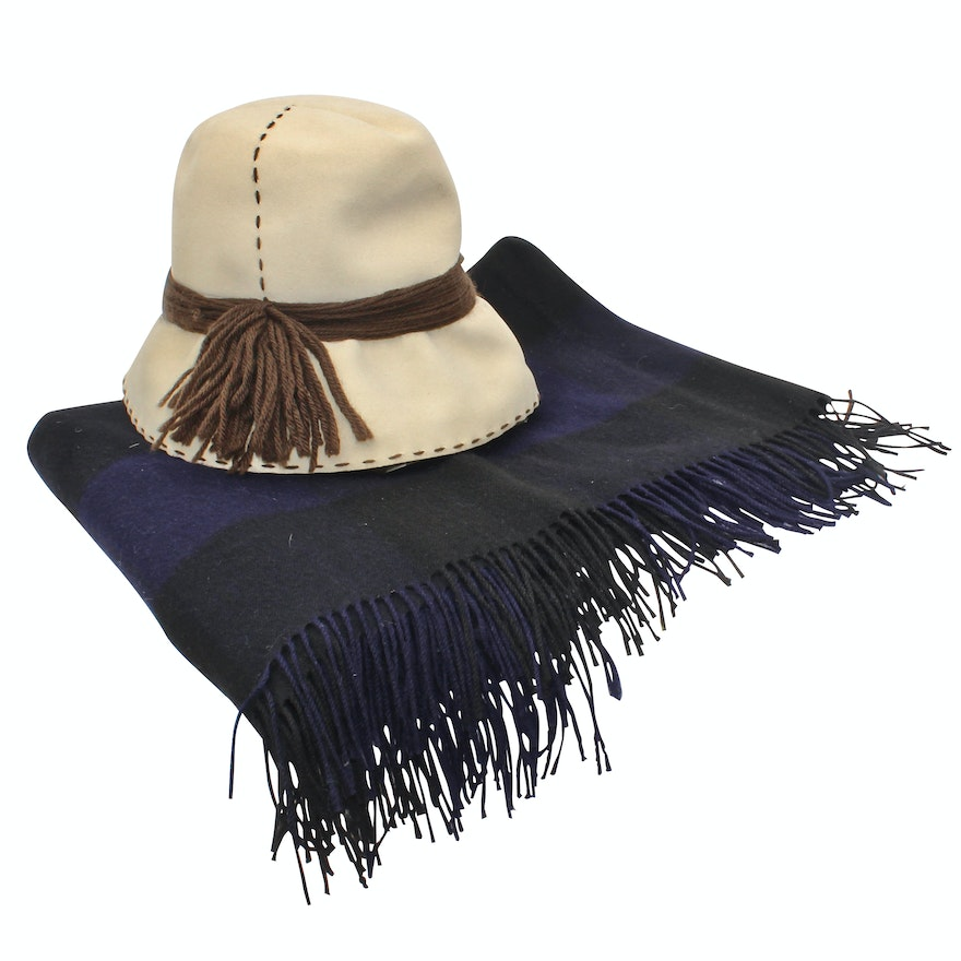 0909e73d Christian Dior Chapeaux Felt Hat and N.Peal Cashmere and Wool Fringed Shawl  ...