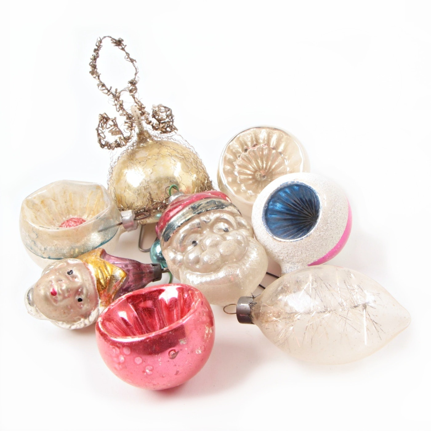 Eight Antique And Vintage Glass Christmas Tree Ornaments.