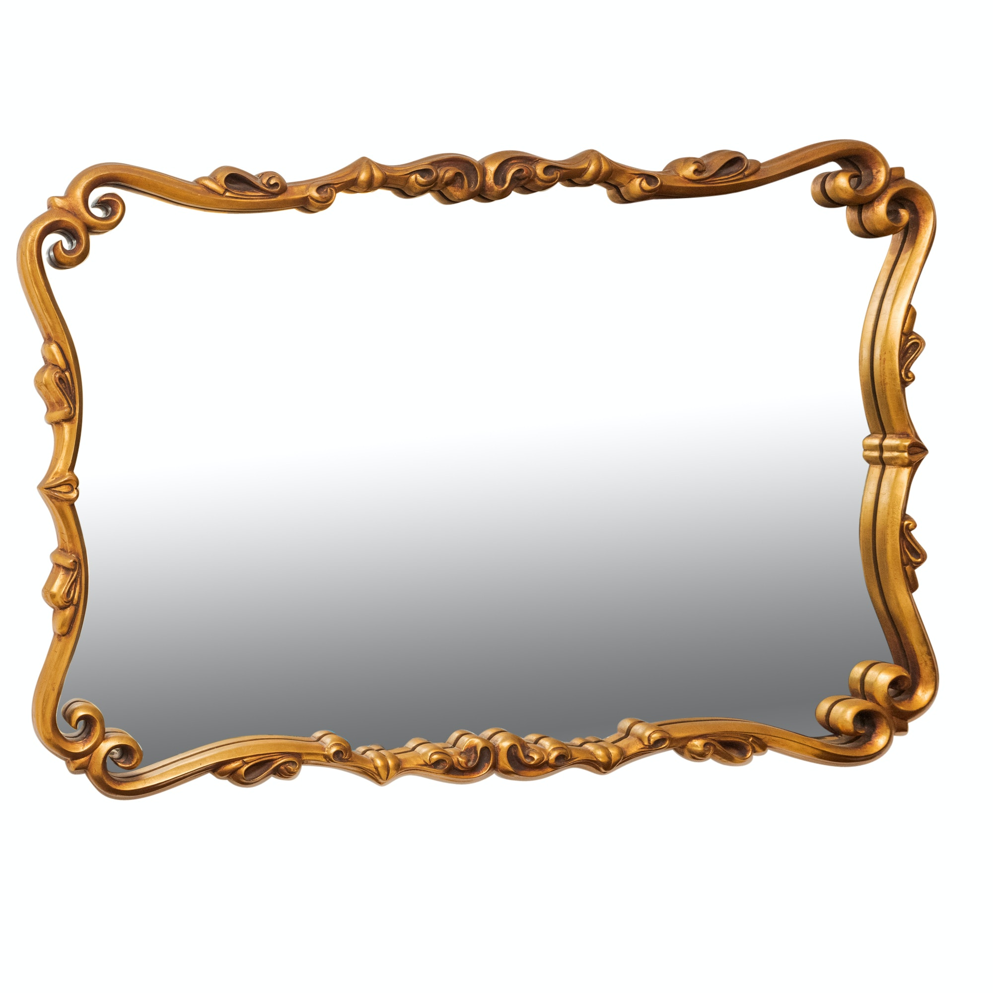 Gilt Finished Framed Wall Mirror with Scrolled Design