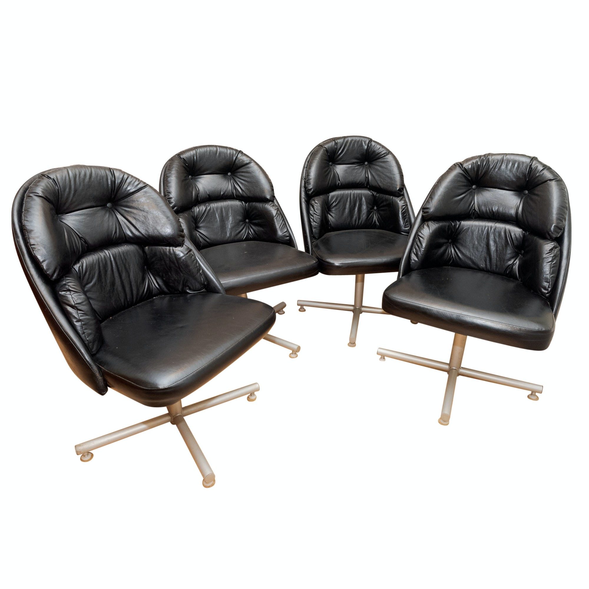 Mid Century Modern Faux Leather Upholstered Dining Chairs, Mid-20th Century