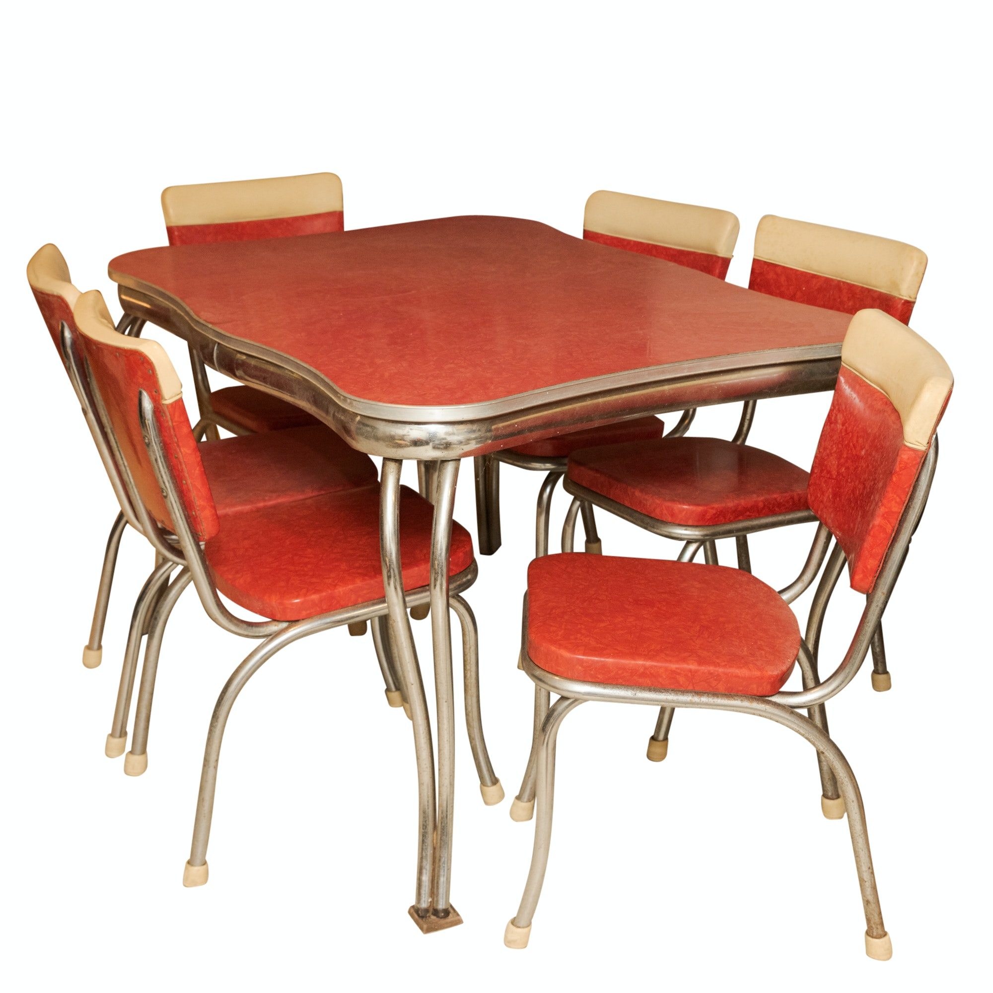 Mid Century Modern Bent Chrome Dinette Set by Kuehne Khrome, Mid-20th Century