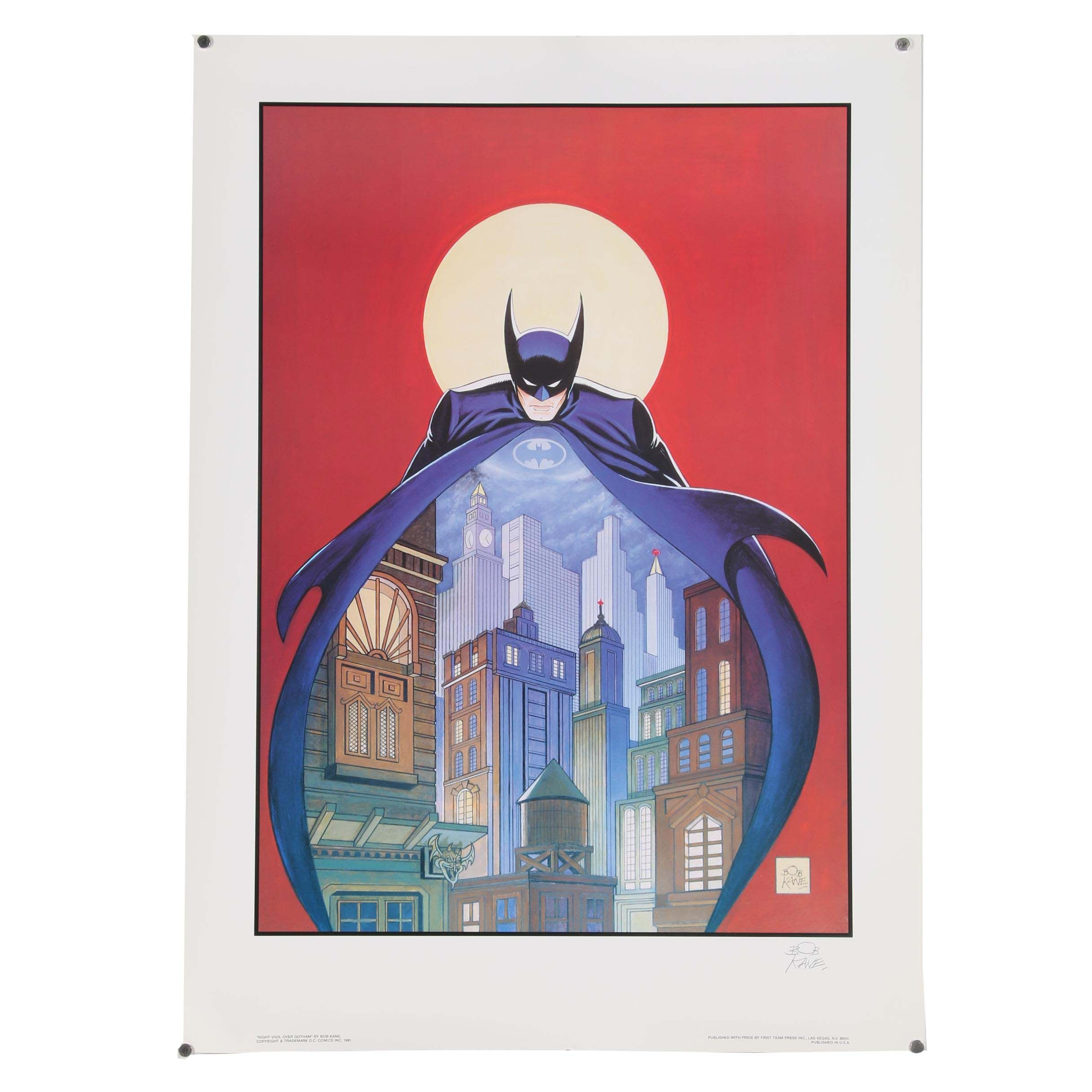 "Bob Kane Offset Lithograph ""Night Vigil Over Gotham"""