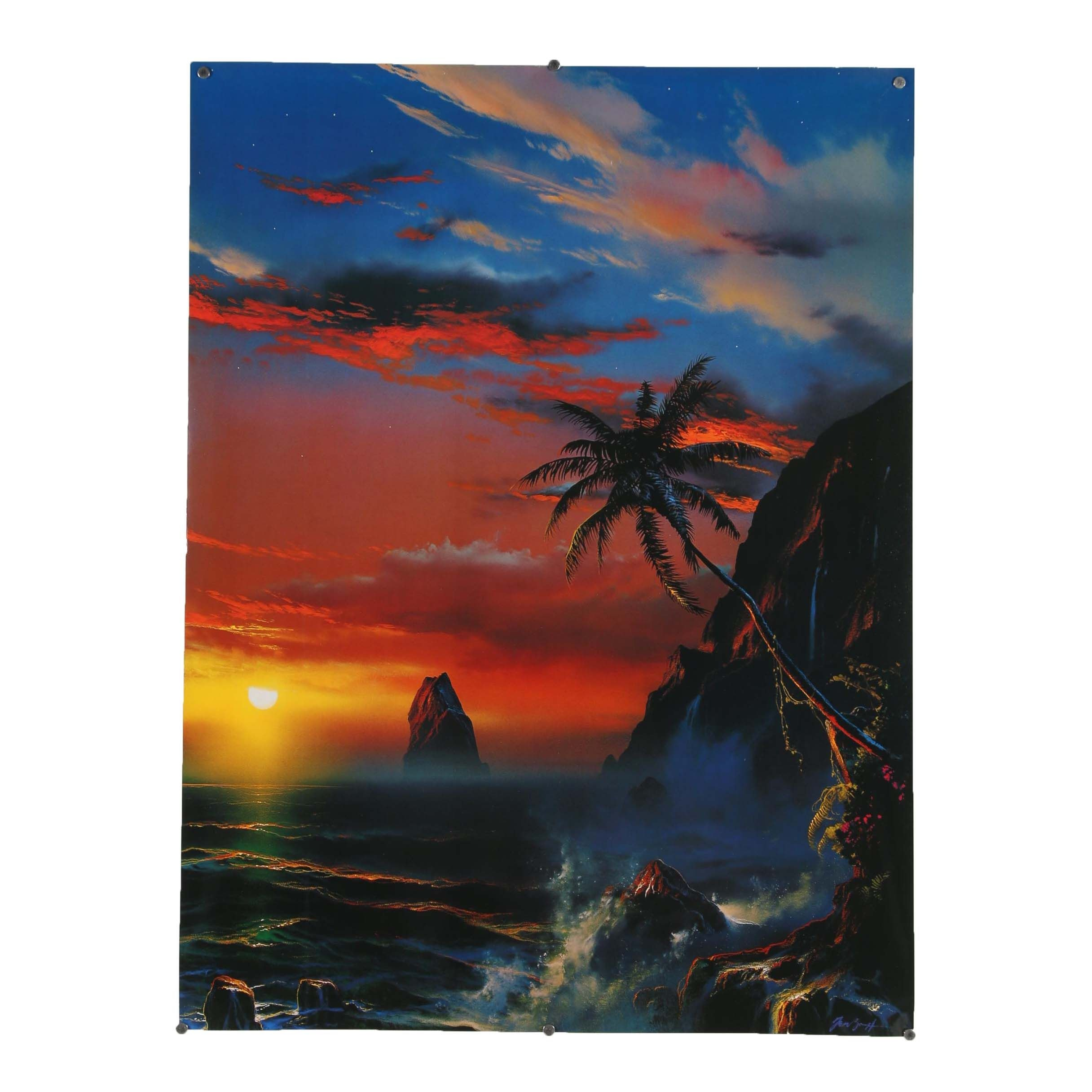 """Offset Lithograph After Dale Terbush """"When Twilight Turns to Paradise"""""""