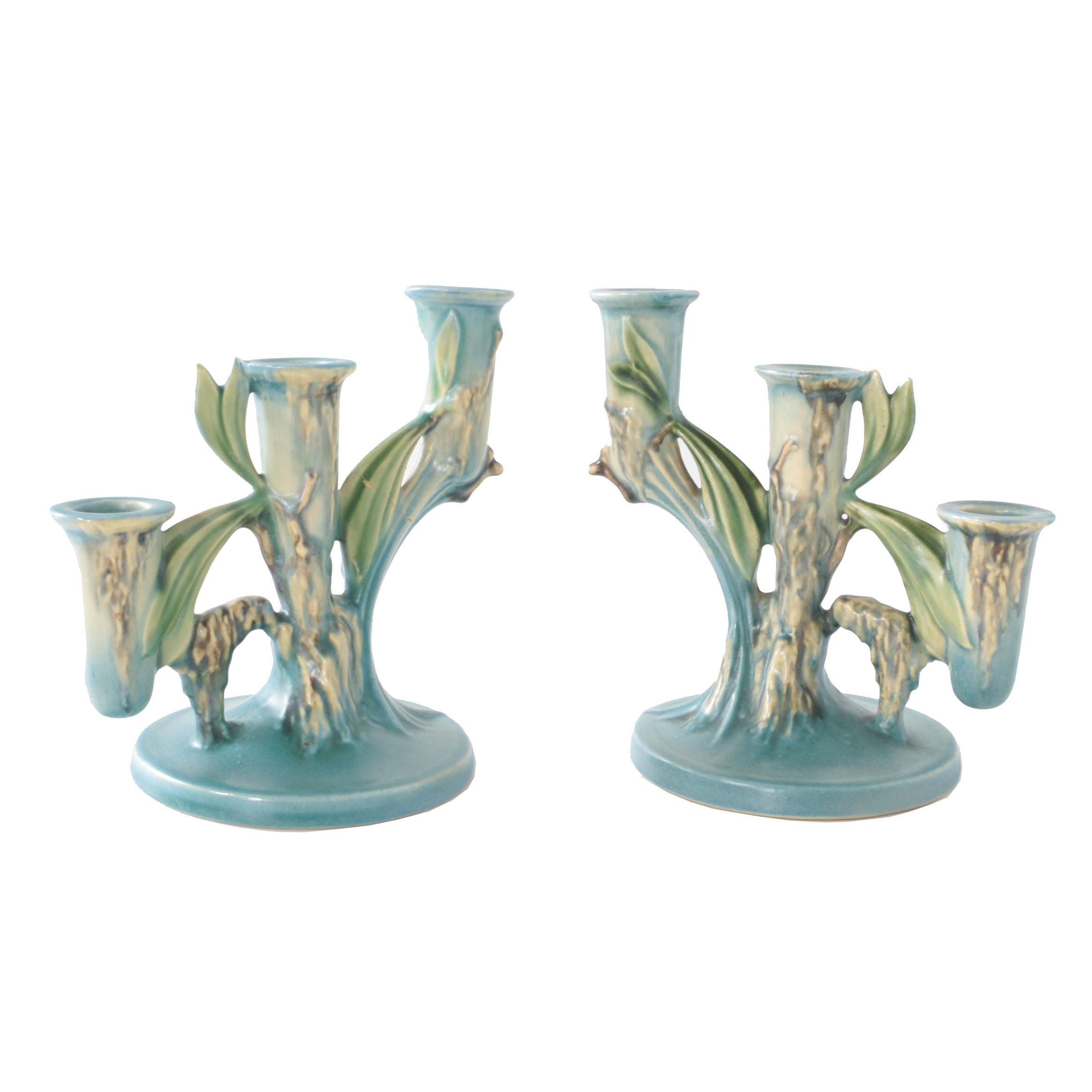 """Roseville Pottery """"Moss"""" Candelabras, Circa 1940s"""